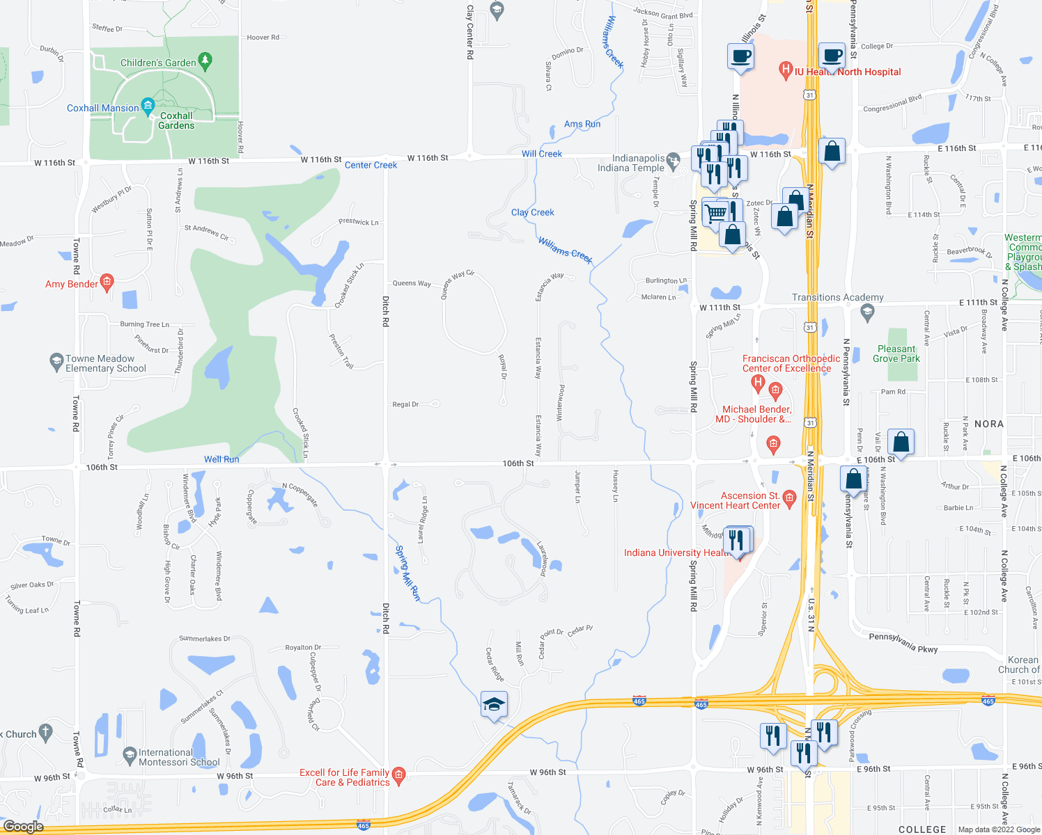 map of restaurants, bars, coffee shops, grocery stores, and more near 10739 Royal Drive in Carmel