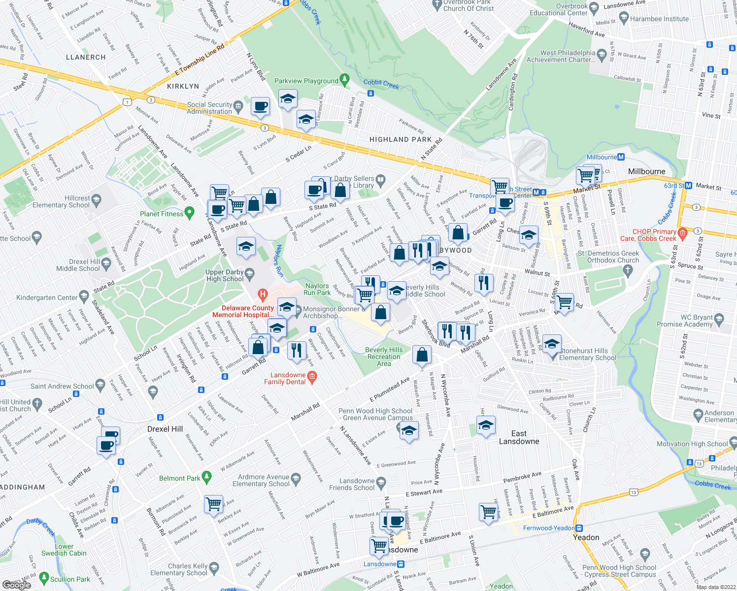 map of restaurants, bars, coffee shops, grocery stores, and more near 1505 Bywood Avenue in Upper Darby