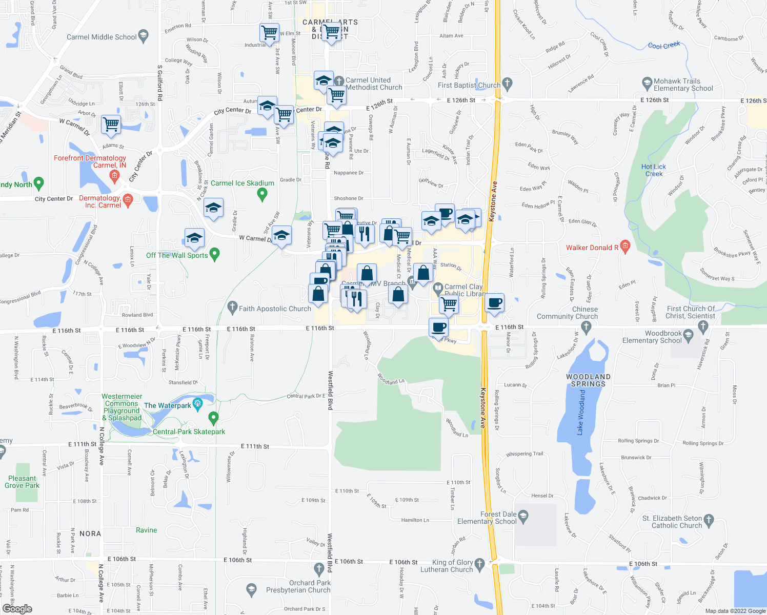 map of restaurants, bars, coffee shops, grocery stores, and more near Jefferson Dr W in Carmel