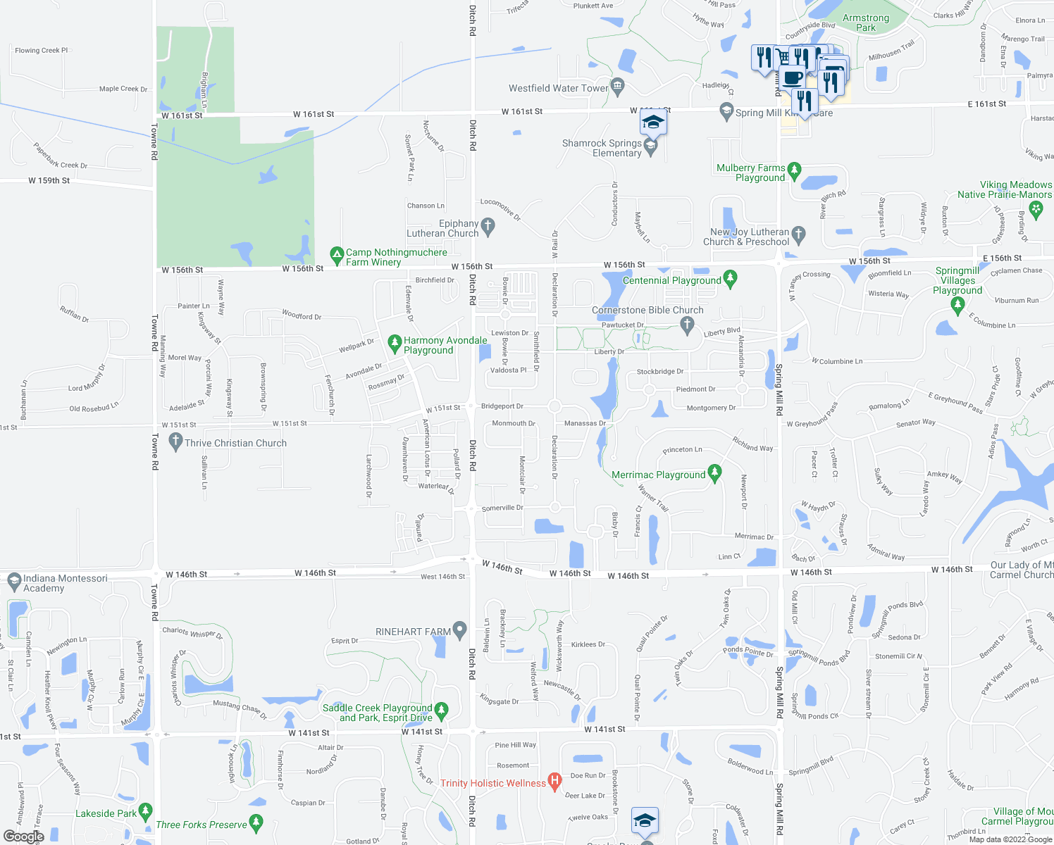 map of restaurants, bars, coffee shops, grocery stores, and more near 15095 Rutherford Dr in Westfield