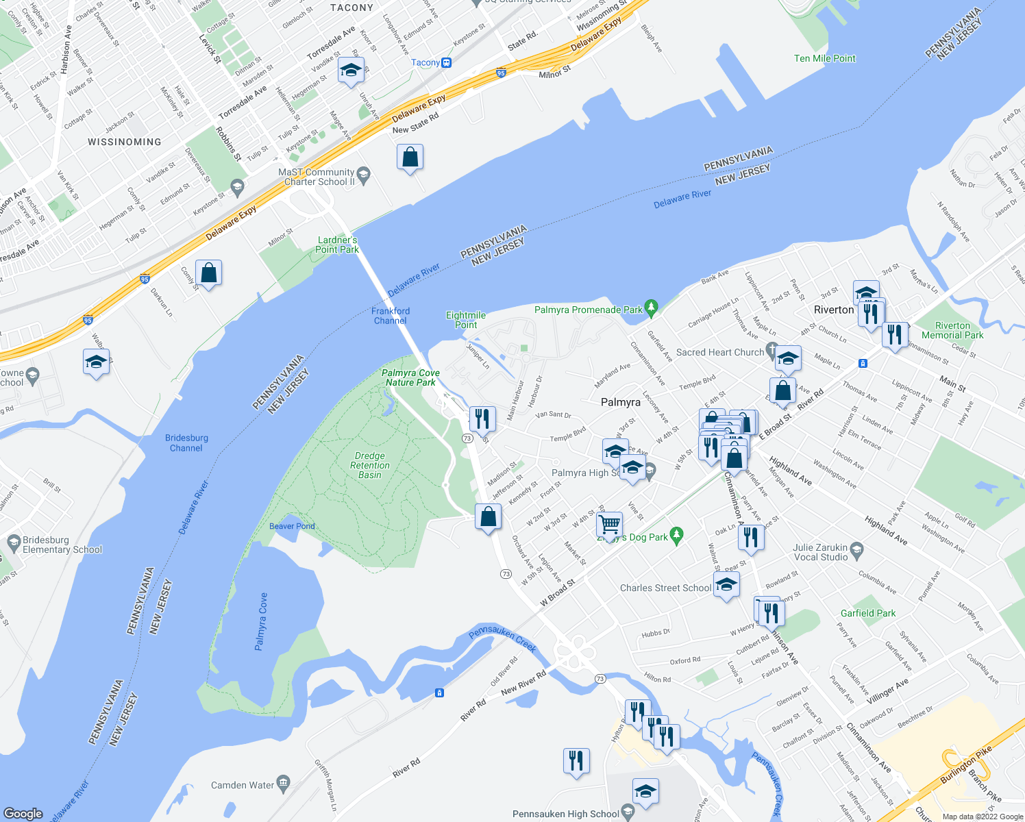 map of restaurants, bars, coffee shops, grocery stores, and more near Harbour Dr & Main Harbour in Palmyra