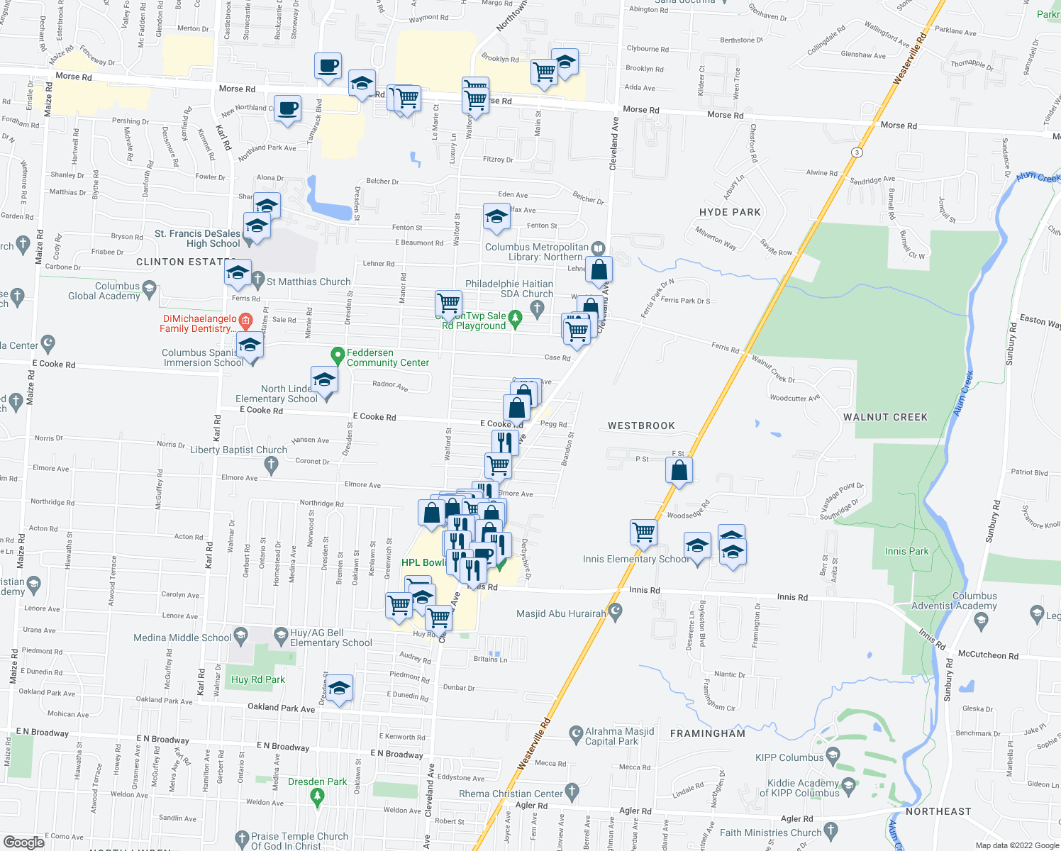 map of restaurants, bars, coffee shops, grocery stores, and more near Cleveland Ave & E Cooke Rd in Franklin