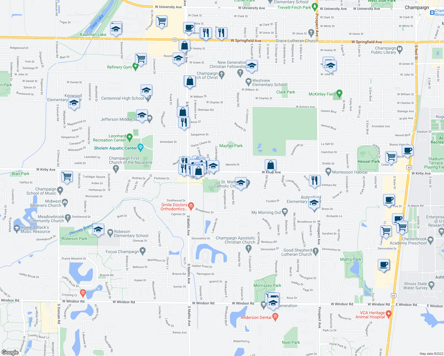 map of restaurants, bars, coffee shops, grocery stores, and more near 1510 Lincolnshire Dr in Champaign