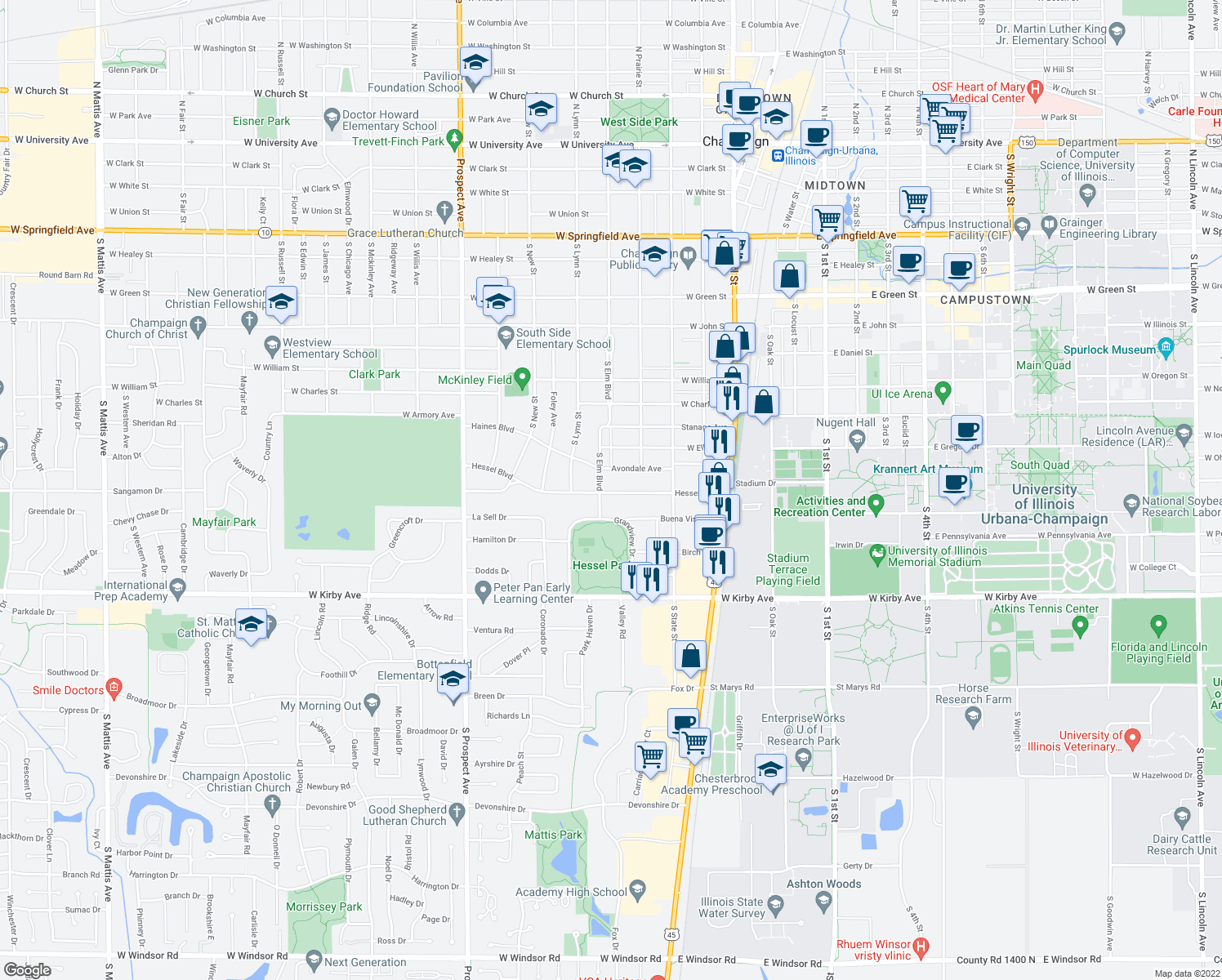 map of restaurants, bars, coffee shops, grocery stores, and more near 414 Hessel Blvd in Champaign