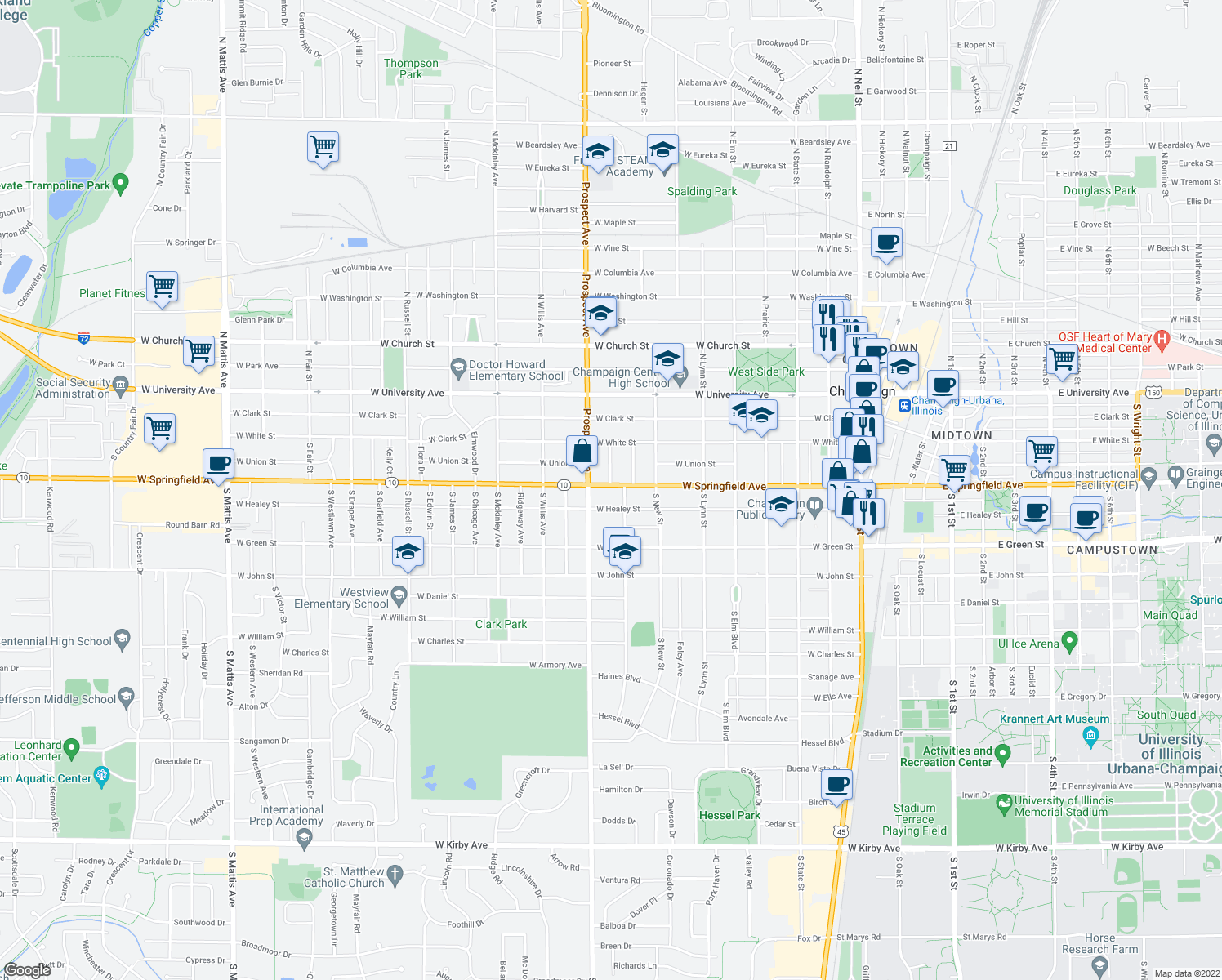 map of restaurants, bars, coffee shops, grocery stores, and more near 805 W Springfield Ave in Champaign