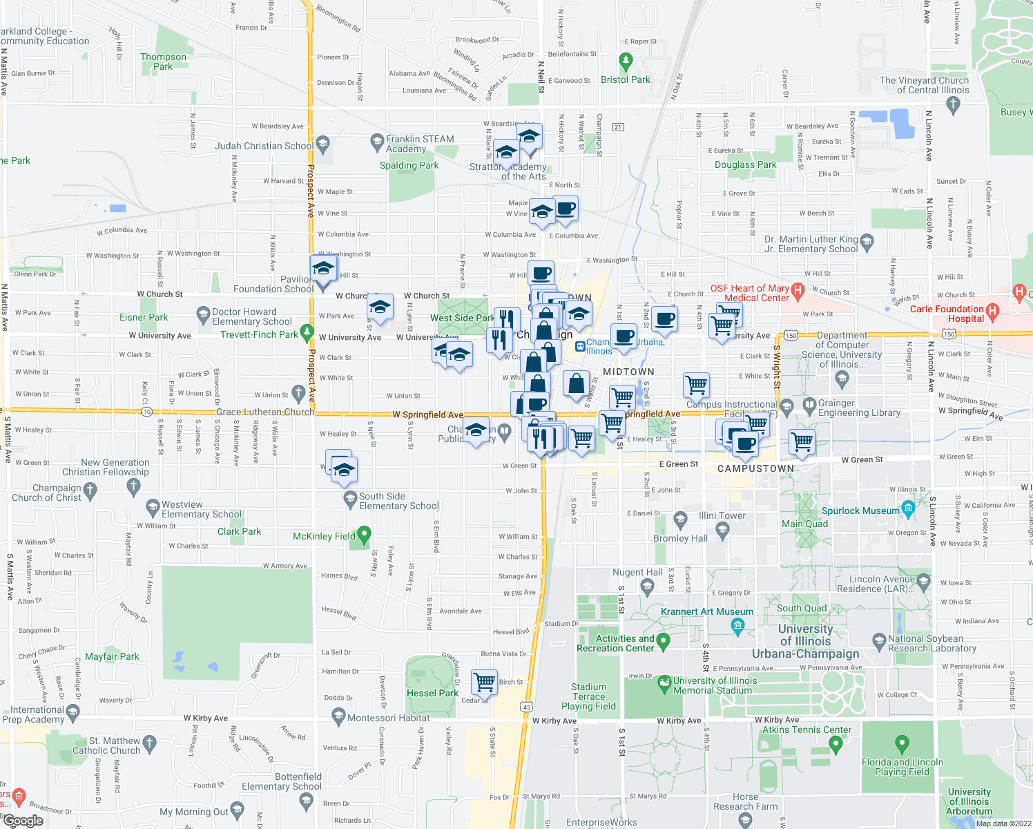 map of restaurants, bars, coffee shops, grocery stores, and more near W Springfield Ave & S Randolph St in Champaign
