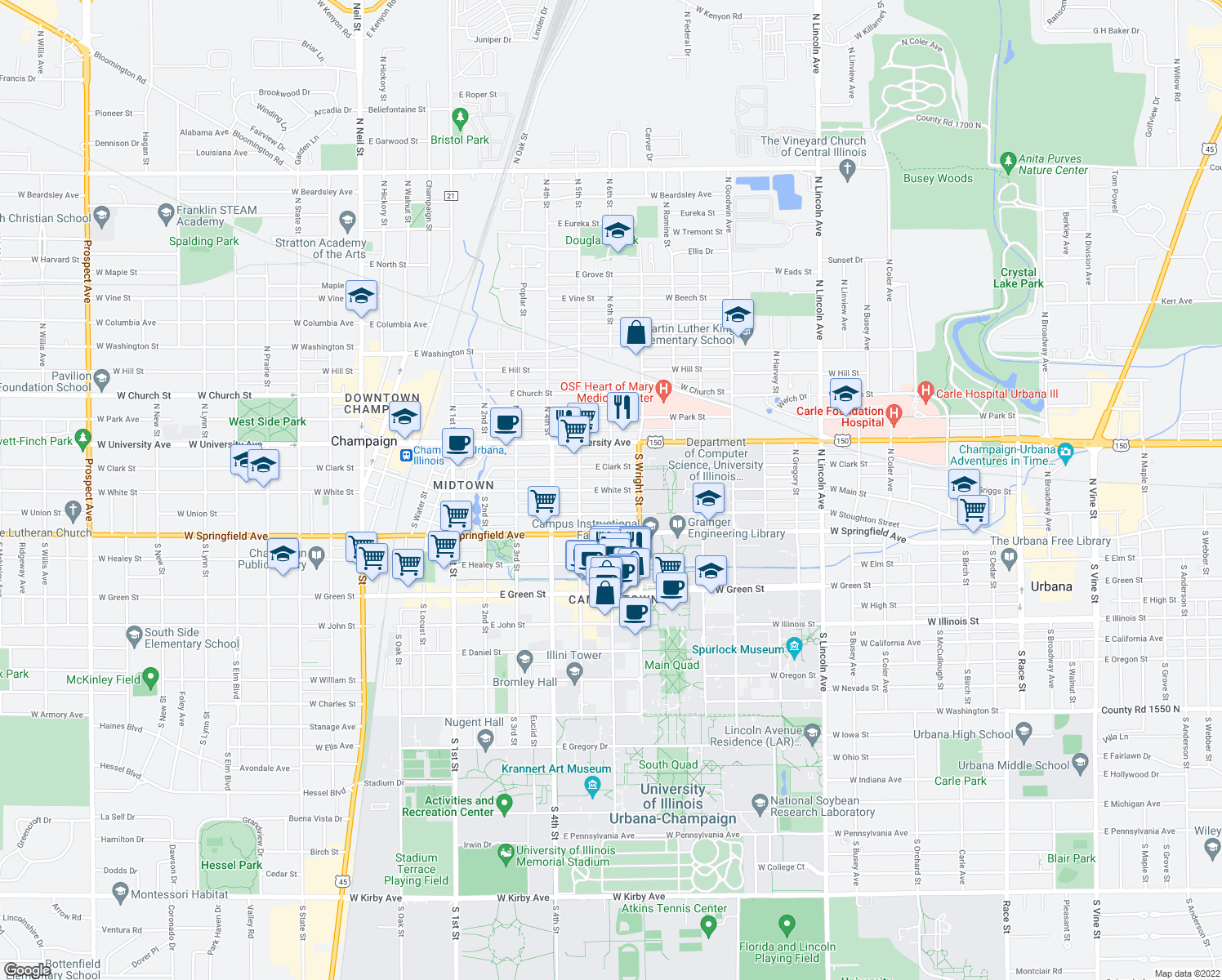map of restaurants, bars, coffee shops, grocery stores, and more near South 6th Street & East White Street in Champaign