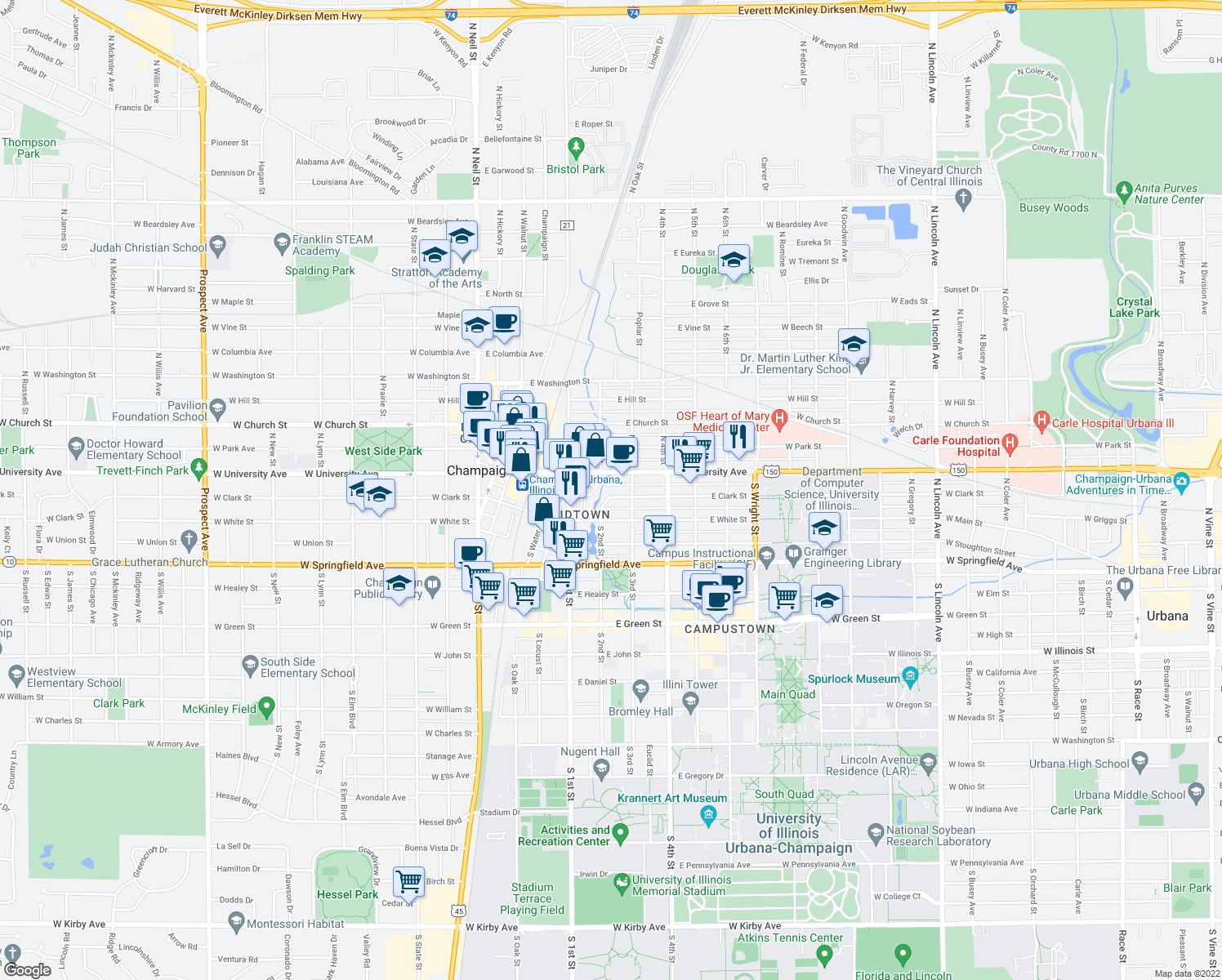 map of restaurants, bars, coffee shops, grocery stores, and more near 204 East Clark Street in Champaign