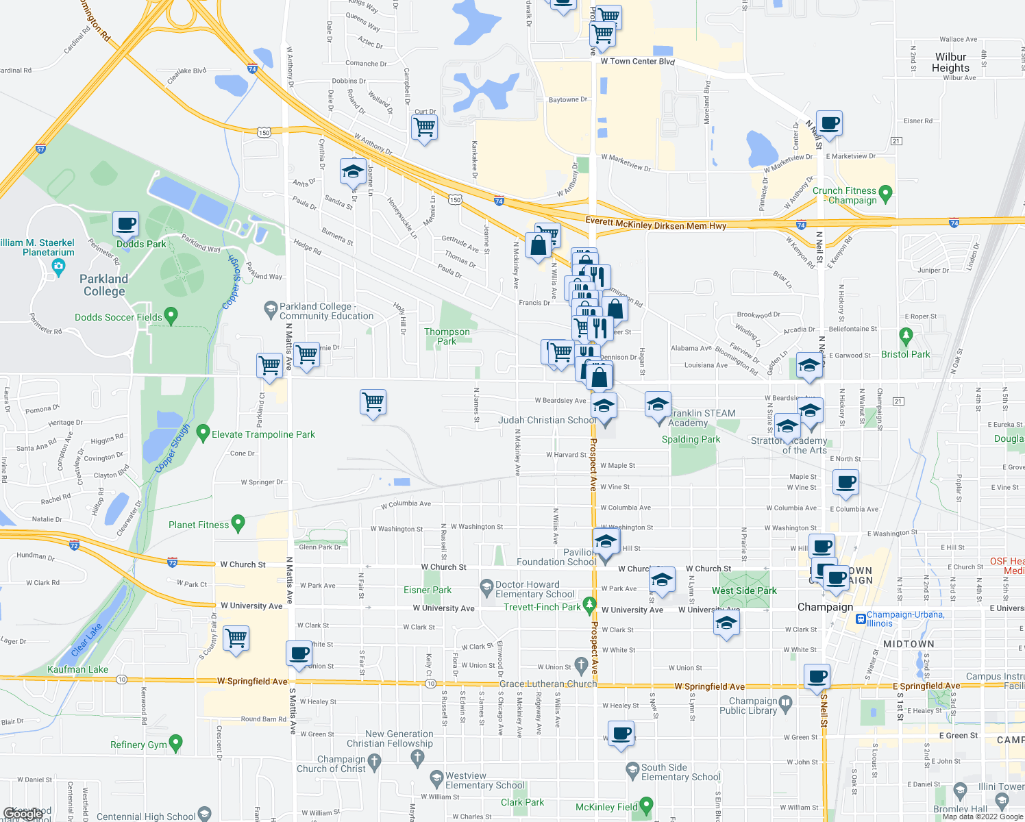 map of restaurants, bars, coffee shops, grocery stores, and more near 1003 North Mckinley Avenue in Champaign