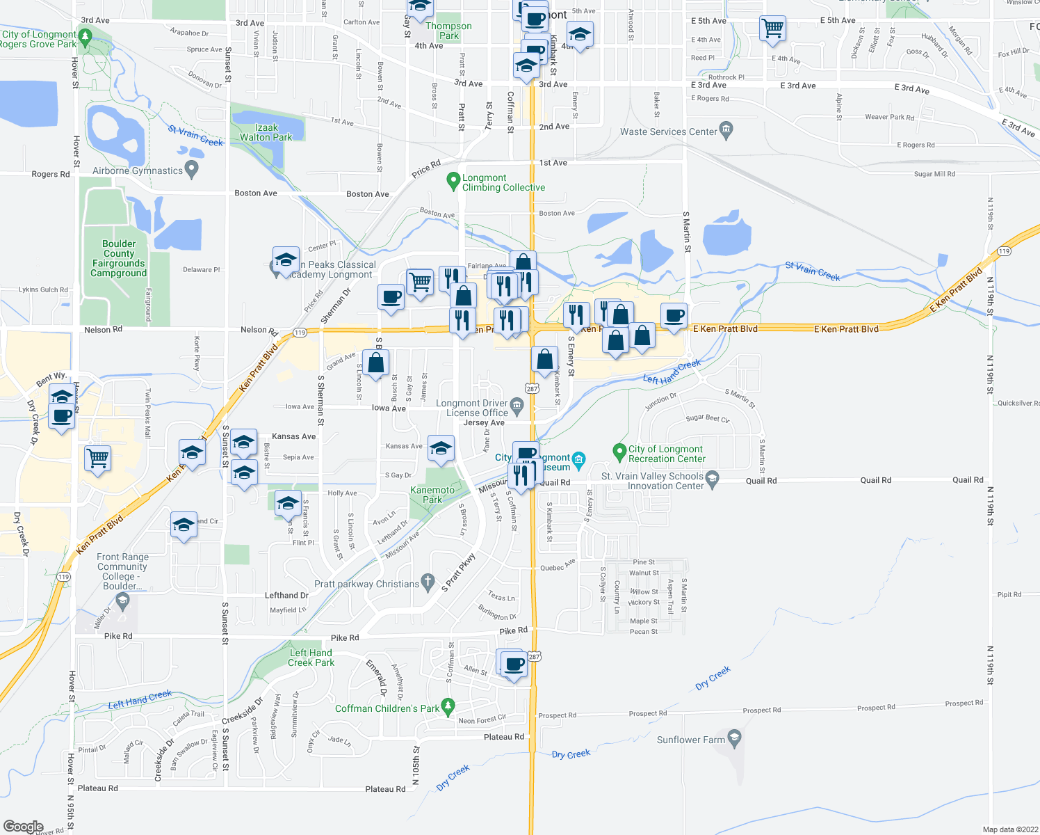 map of restaurants, bars, coffee shops, grocery stores, and more near 1011 South Main Street in Longmont