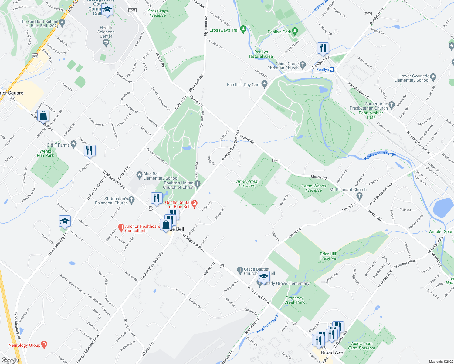 map of restaurants, bars, coffee shops, grocery stores, and more near 564 Derwen Road in Blue Bell