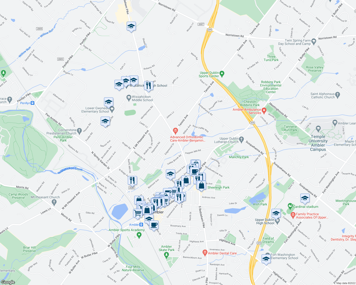 map of restaurants, bars, coffee shops, grocery stores, and more near 1509 North Bethlehem Pike in Ambler