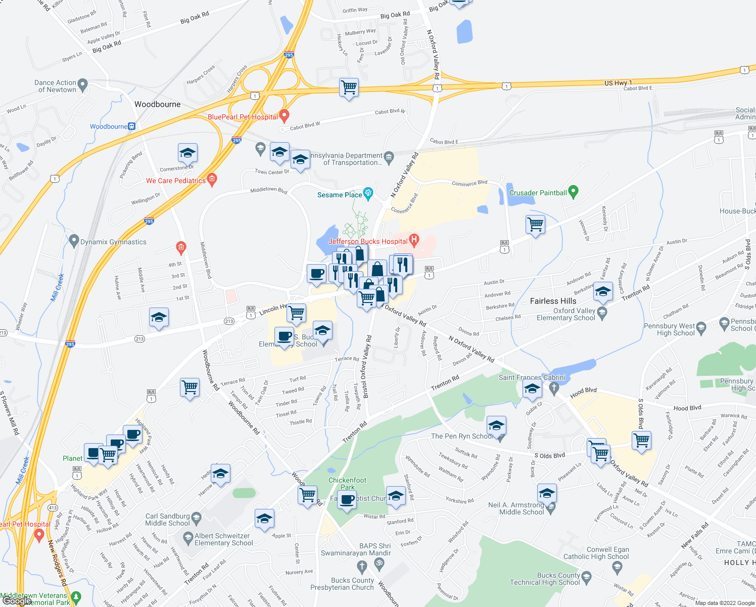 map of restaurants, bars, coffee shops, grocery stores, and more near 389 North Oxford Valley Road in Fairless Hills