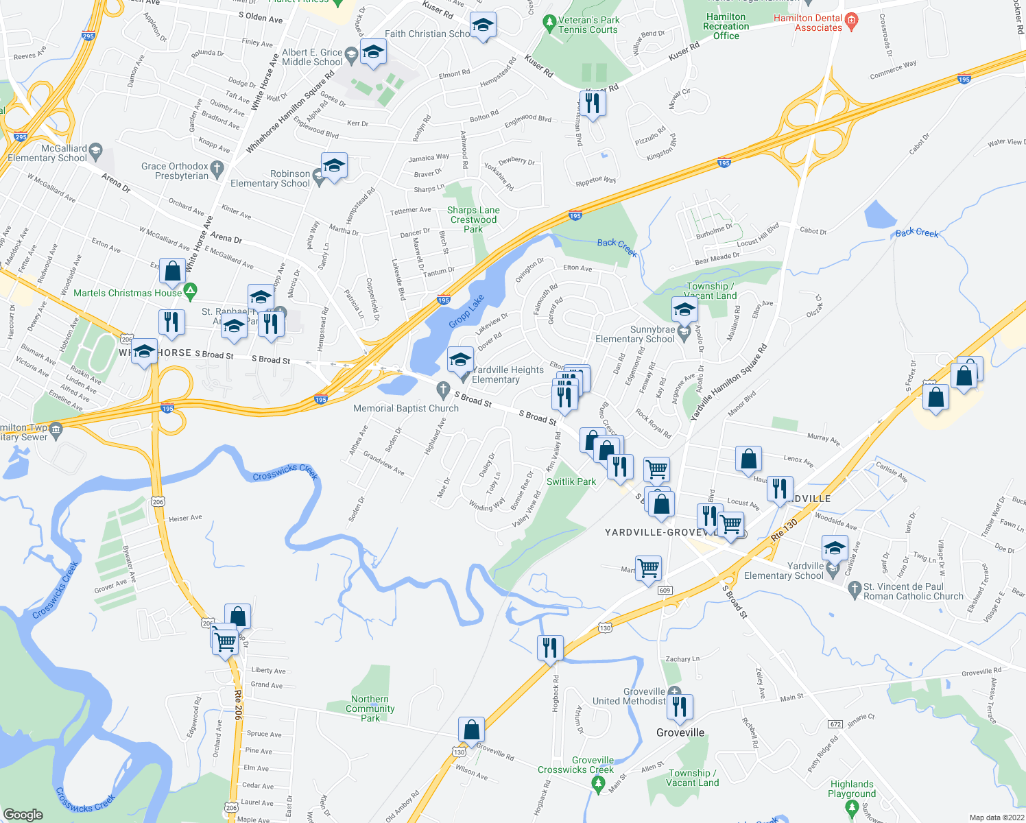 map of restaurants, bars, coffee shops, grocery stores, and more near 4041 South Broad Street in Hamilton Township