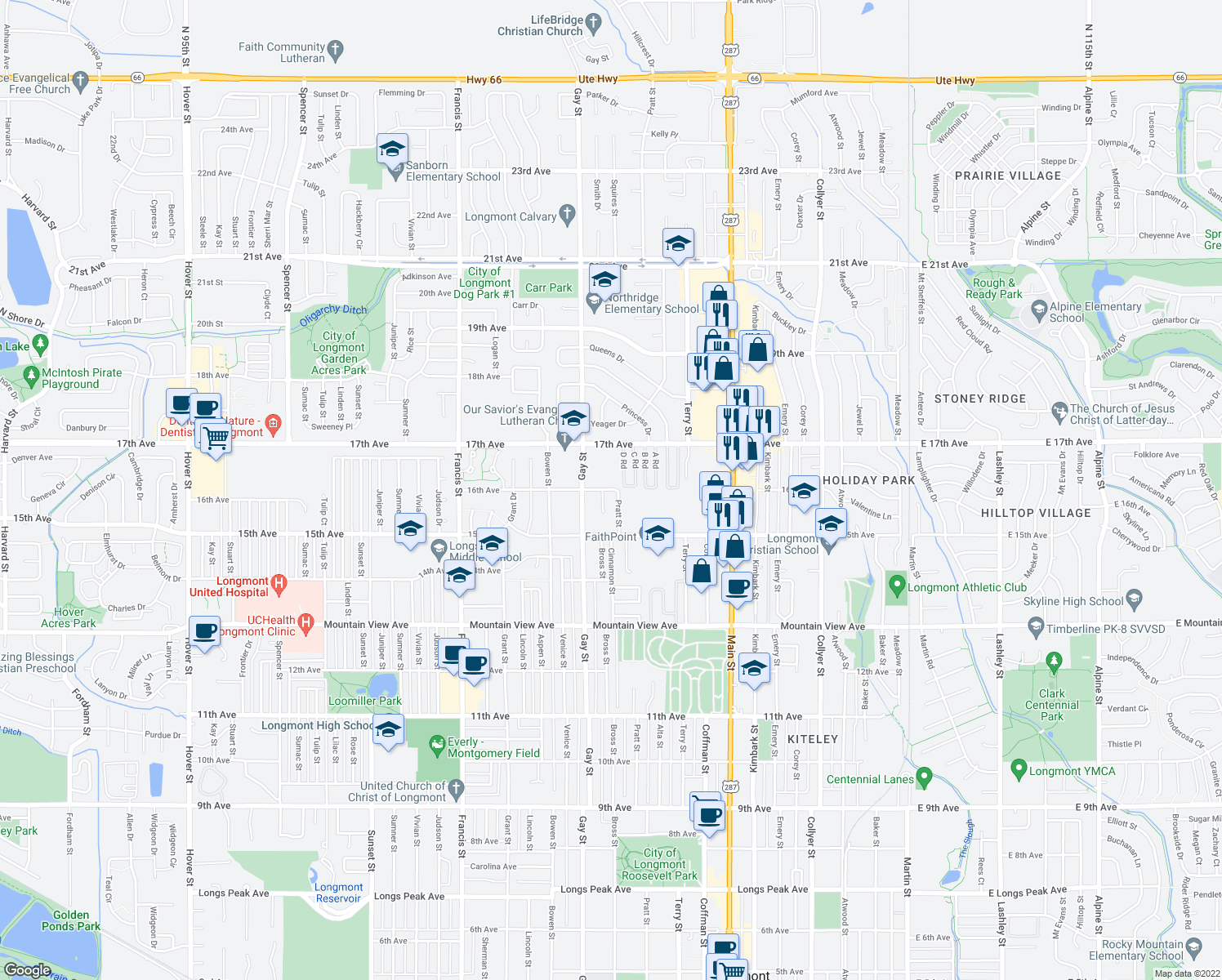 map of restaurants, bars, coffee shops, grocery stores, and more near 1530 Pratt Street in Longmont