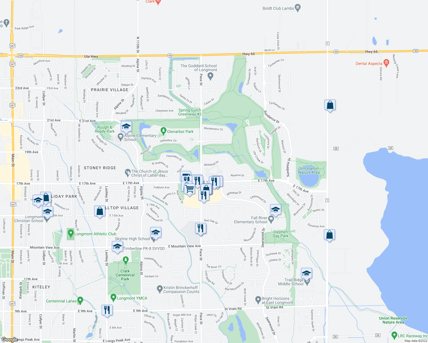 map of restaurants, bars, coffee shops, grocery stores, and more near 1100 East 17th Avenue in Longmont