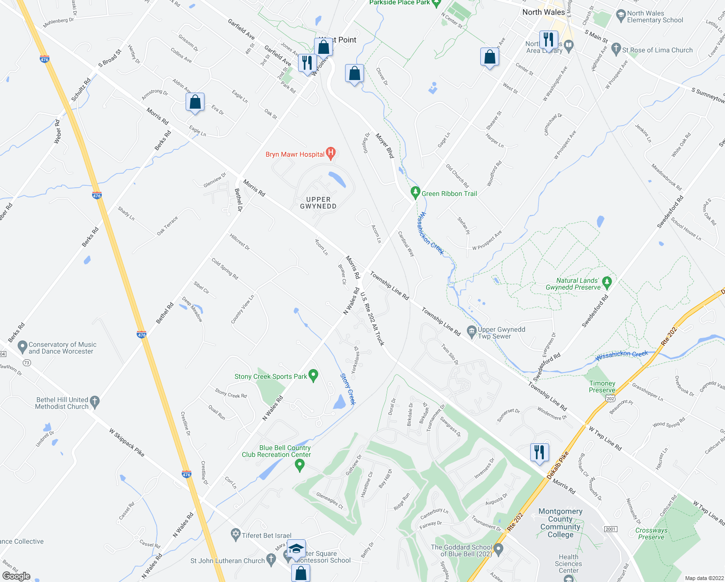 map of restaurants, bars, coffee shops, grocery stores, and more near 1975 Morris Road in Blue Bell