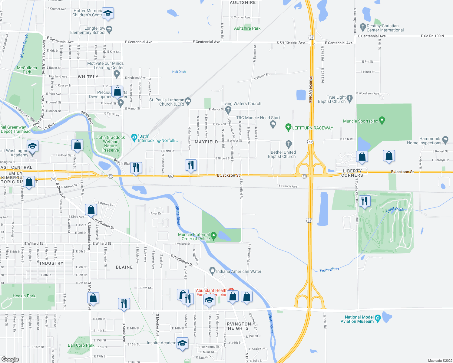 map of restaurants, bars, coffee shops, grocery stores, and more near 3305 East Jackson Street in Muncie