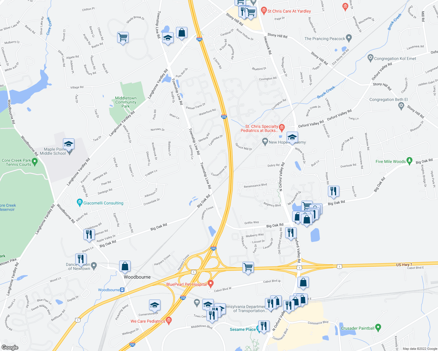 map of restaurants, bars, coffee shops, grocery stores, and more near 20231-25199 Cornerstone Drive in Morrisville