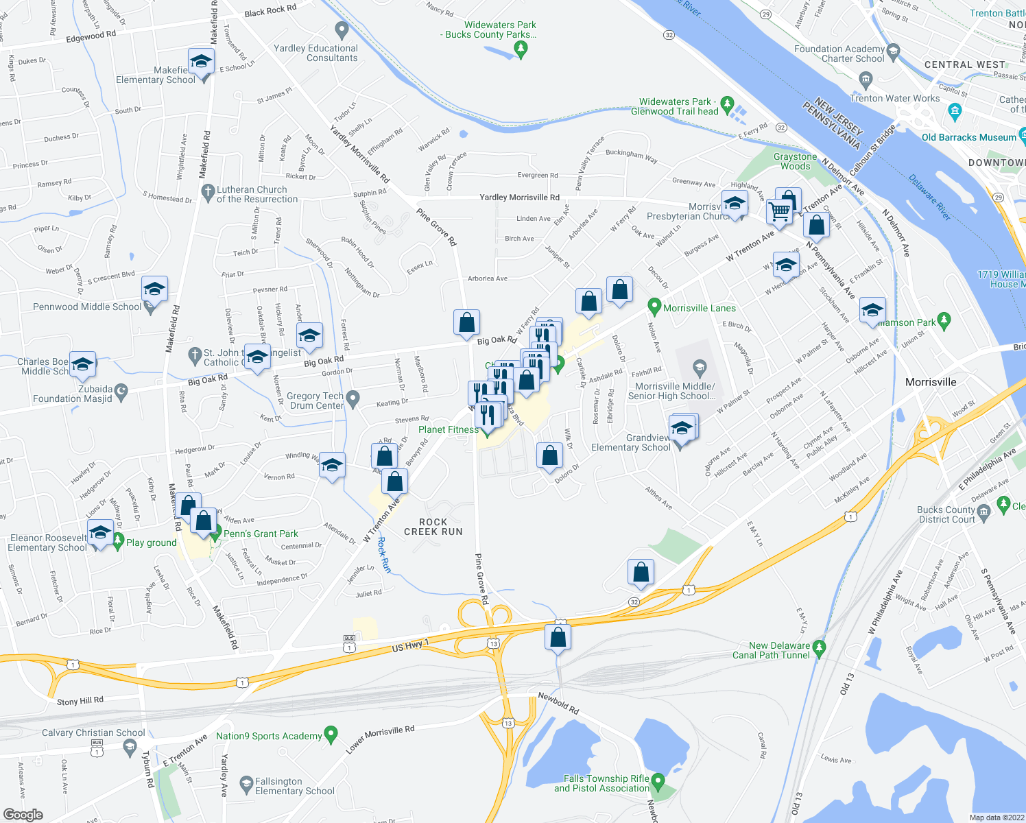 map of restaurants, bars, coffee shops, grocery stores, and more near 833 West Trenton Avenue in Morrisville