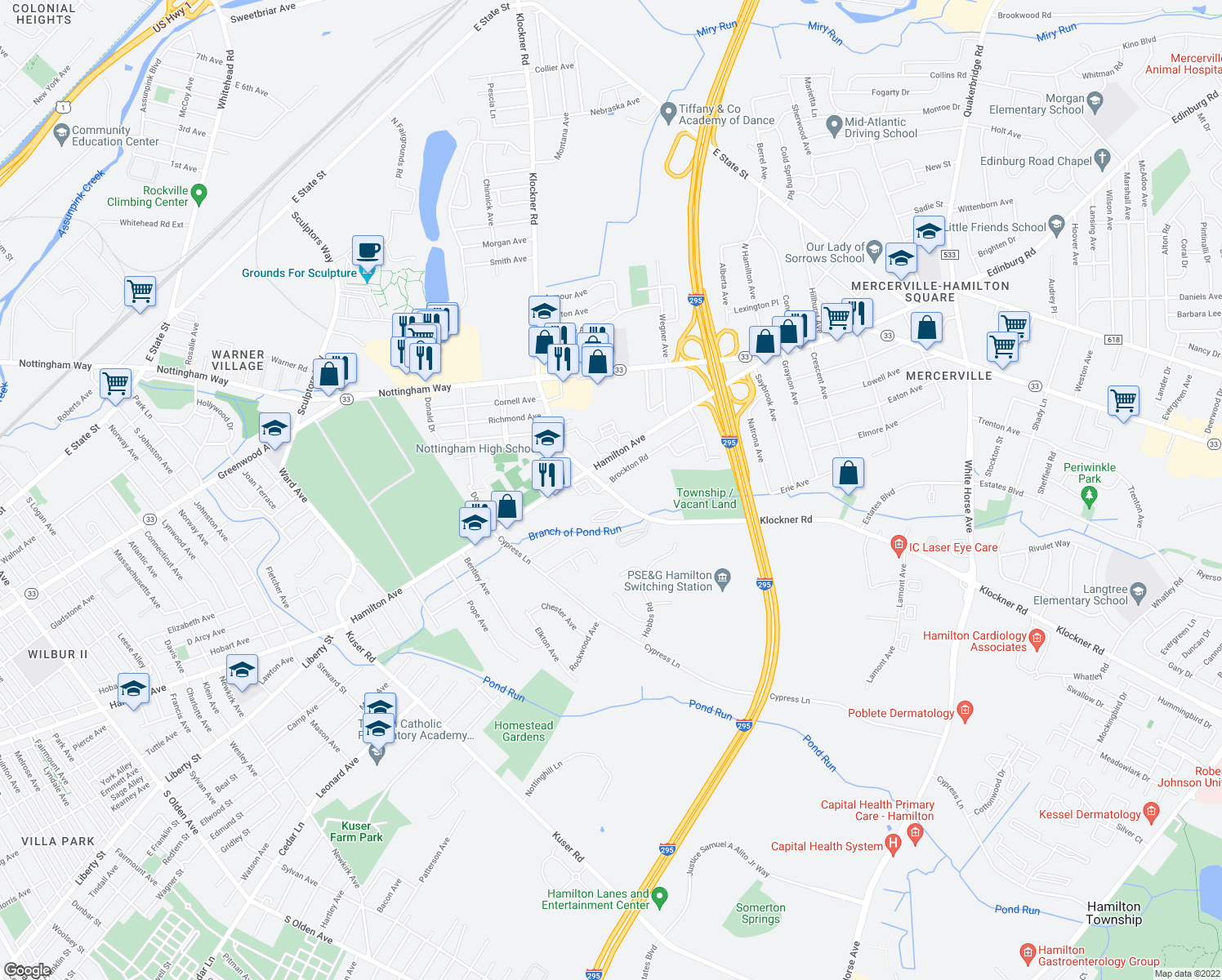 map of restaurants, bars, coffee shops, grocery stores, and more near 1170 Klockner Road in Hamilton Township