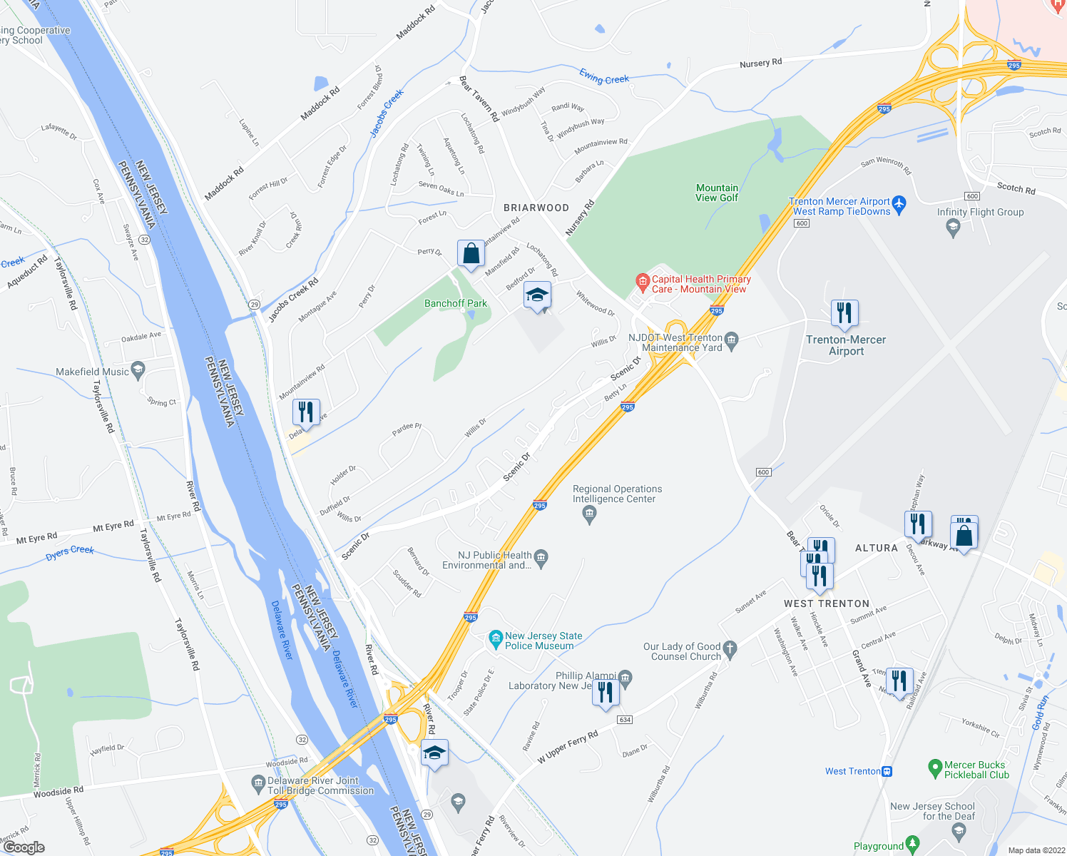 map of restaurants, bars, coffee shops, grocery stores, and more near 16 Musket Court in Ewing Township