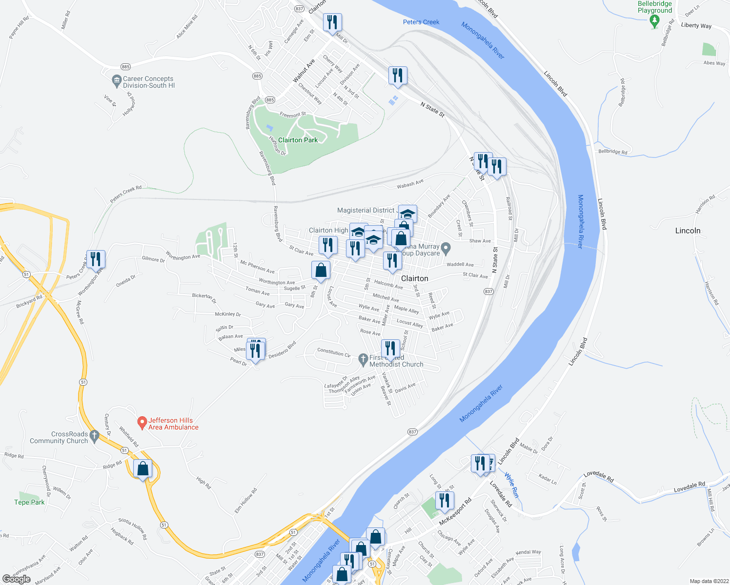 map of restaurants, bars, coffee shops, grocery stores, and more near 441 Mitchell Avenue in Clairton