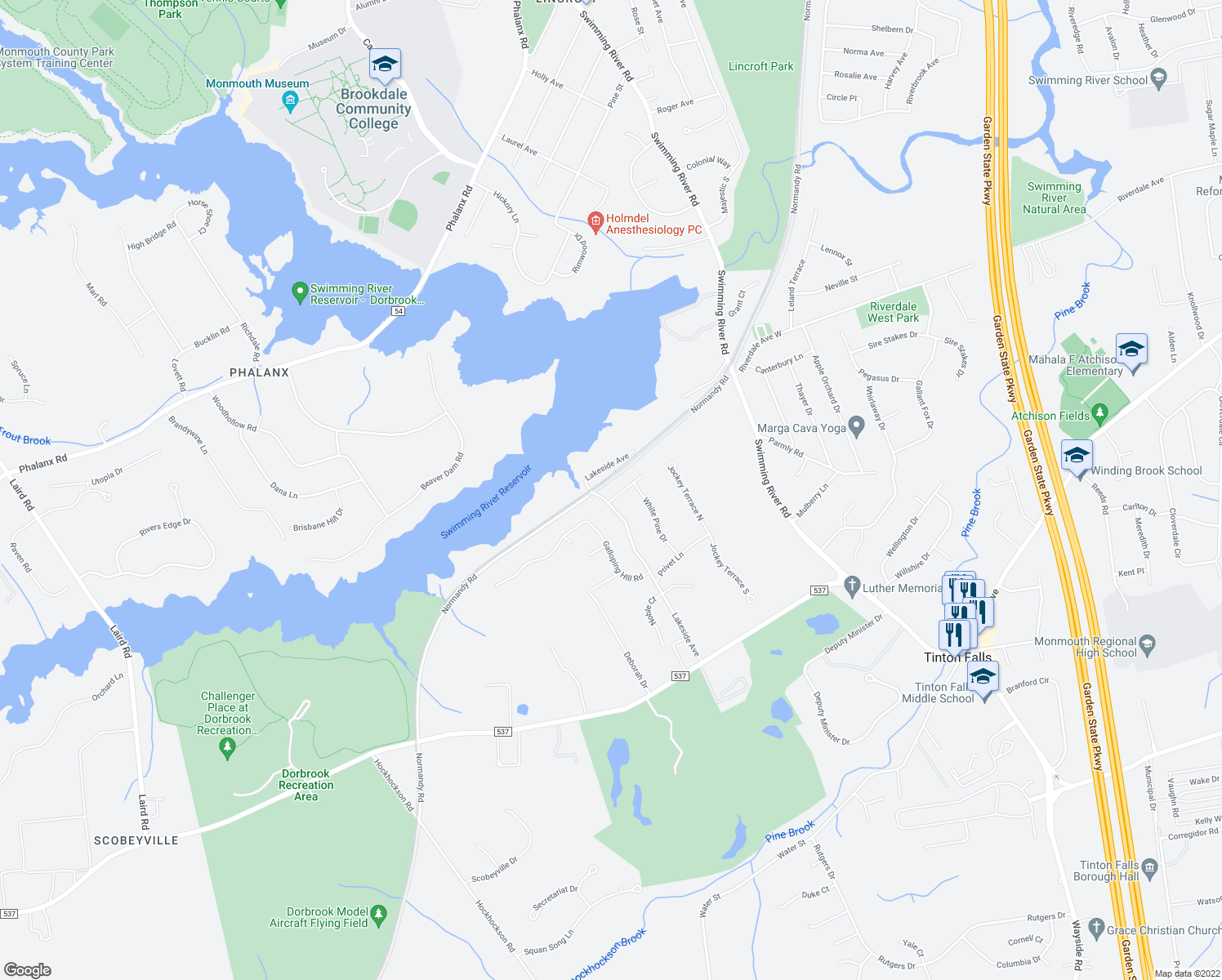 map of restaurants, bars, coffee shops, grocery stores, and more near 1 Barbary Lane in Colts Neck