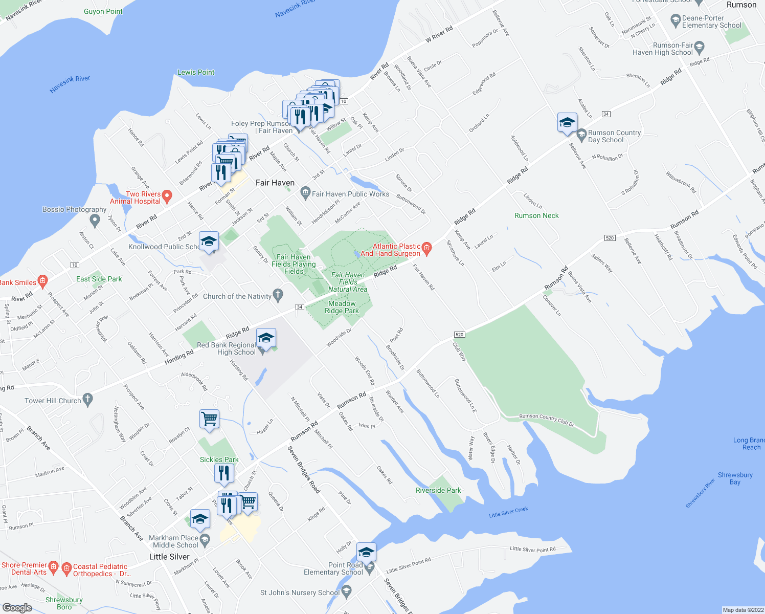 map of restaurants, bars, coffee shops, grocery stores, and more near 2 Post Road in Rumson