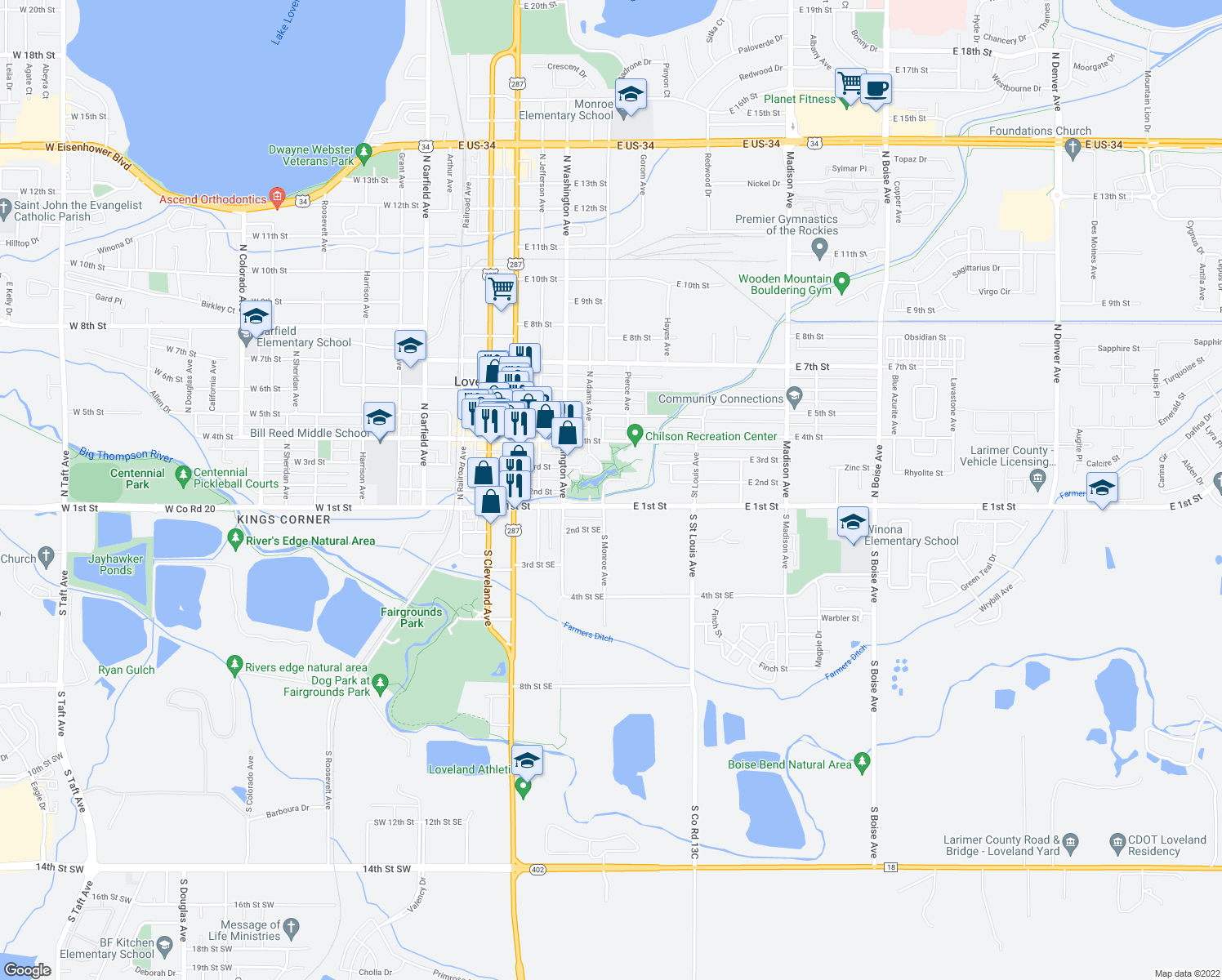 map of restaurants, bars, coffee shops, grocery stores, and more near 224 Monroe Ave in Loveland