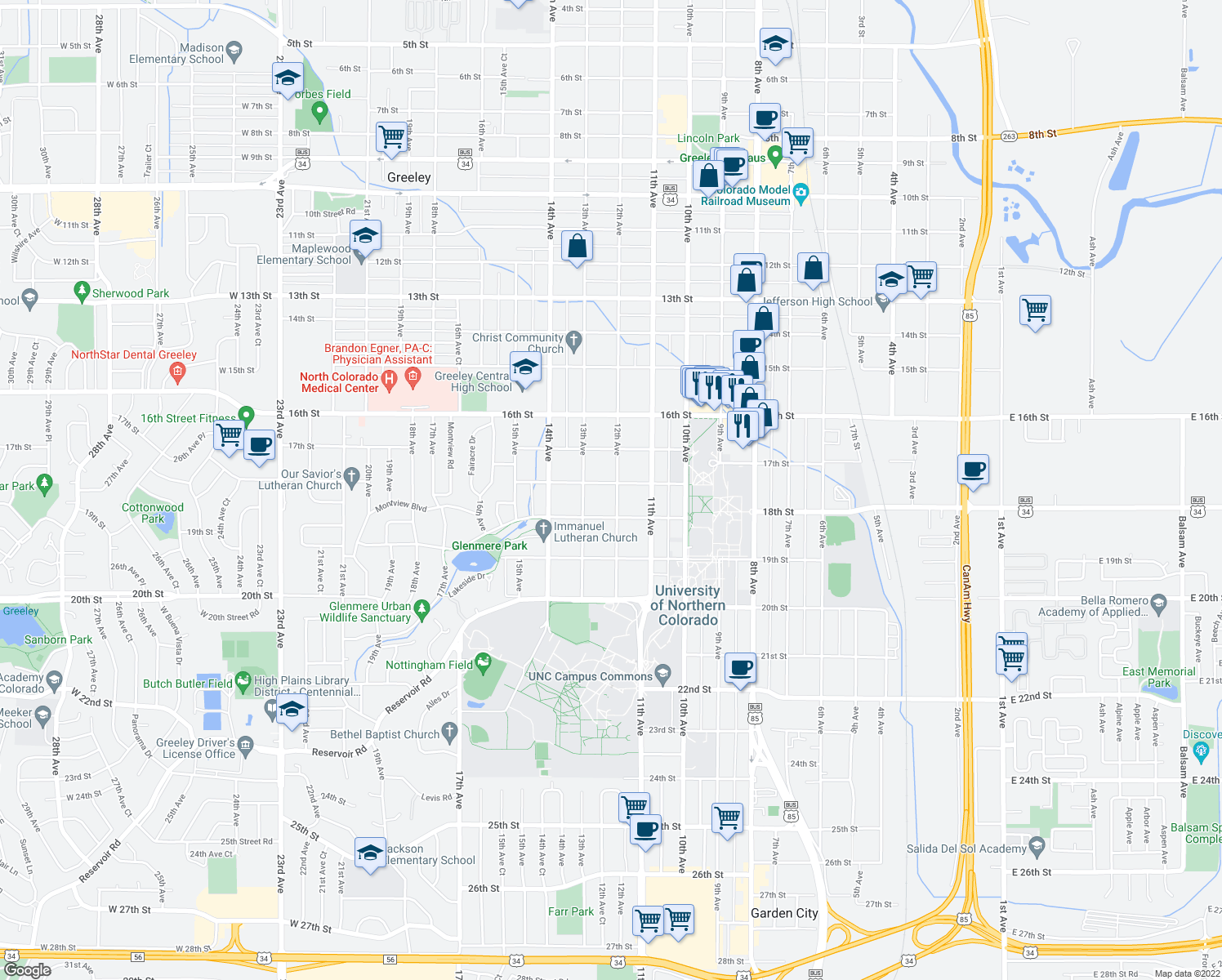 map of restaurants, bars, coffee shops, grocery stores, and more near 1725 12th Ave in Greeley