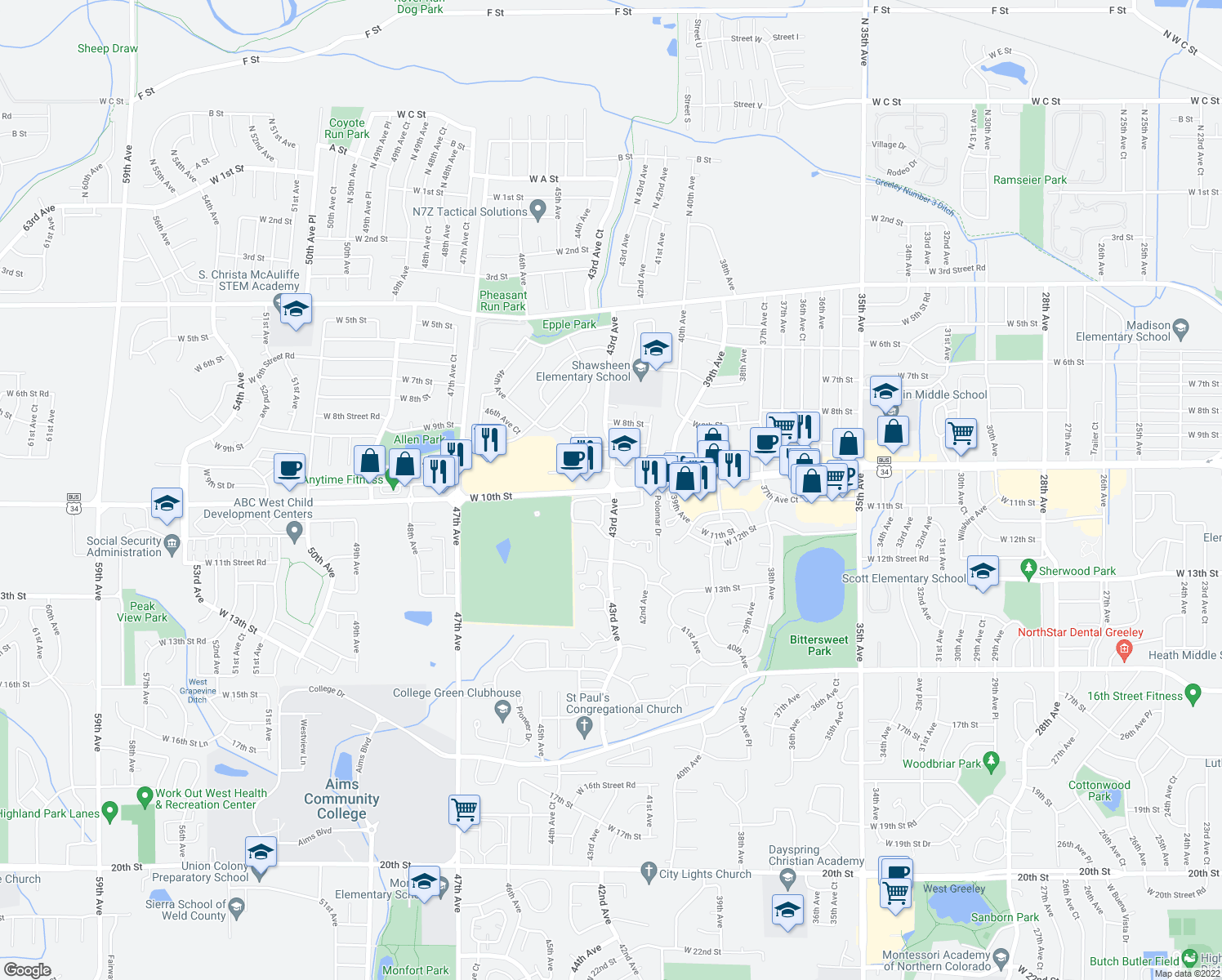 map of restaurants, bars, coffee shops, grocery stores, and more near 10th St & 43rd Ave in Greeley
