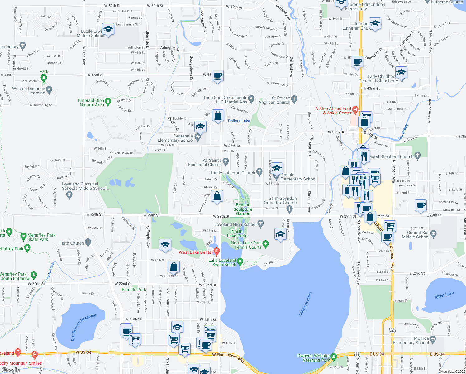 map of restaurants, bars, coffee shops, grocery stores, and more near 3325-3329 Beech Drive in Loveland