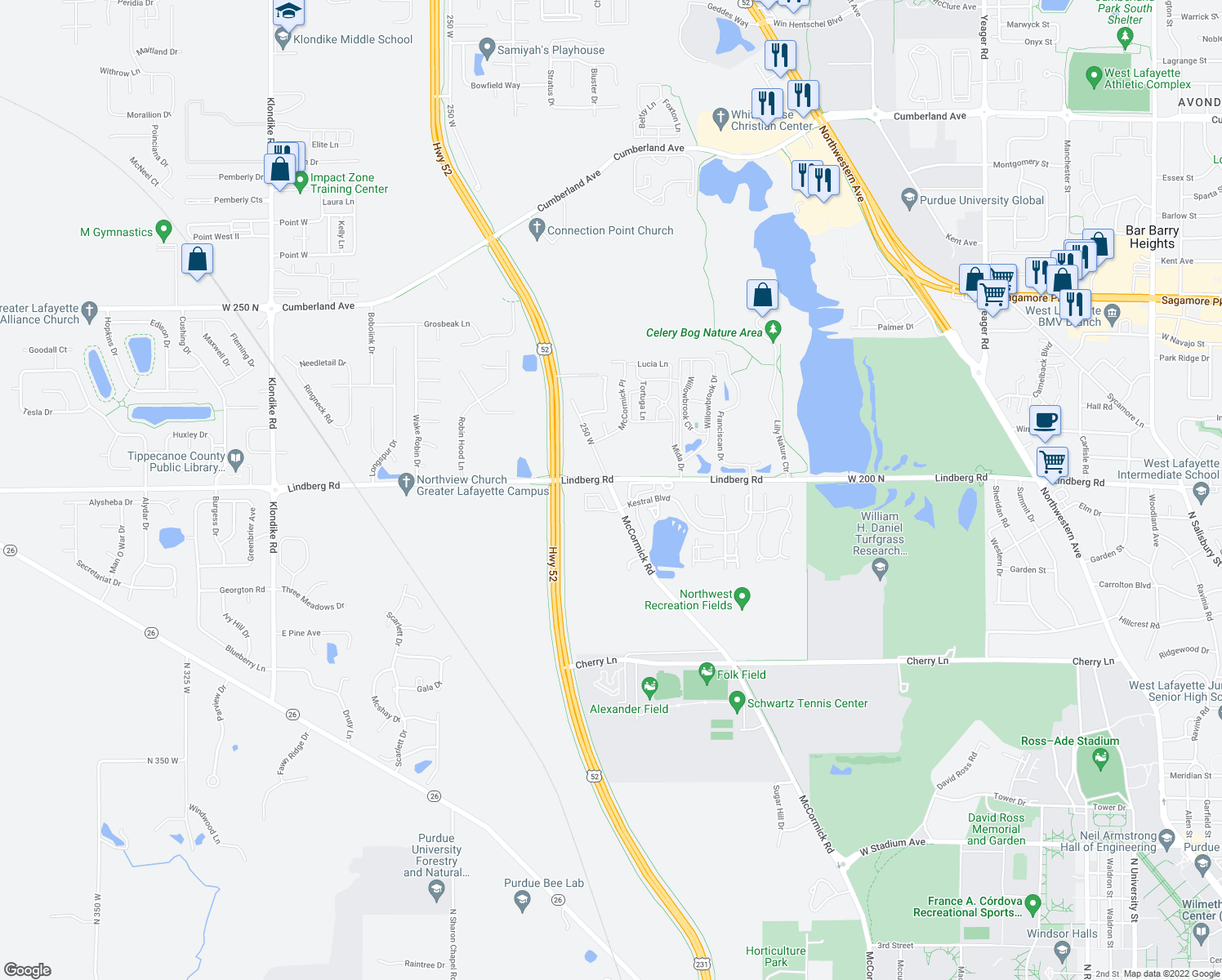 map of restaurants, bars, coffee shops, grocery stores, and more near 2111 Lindberg Road in West Lafayette