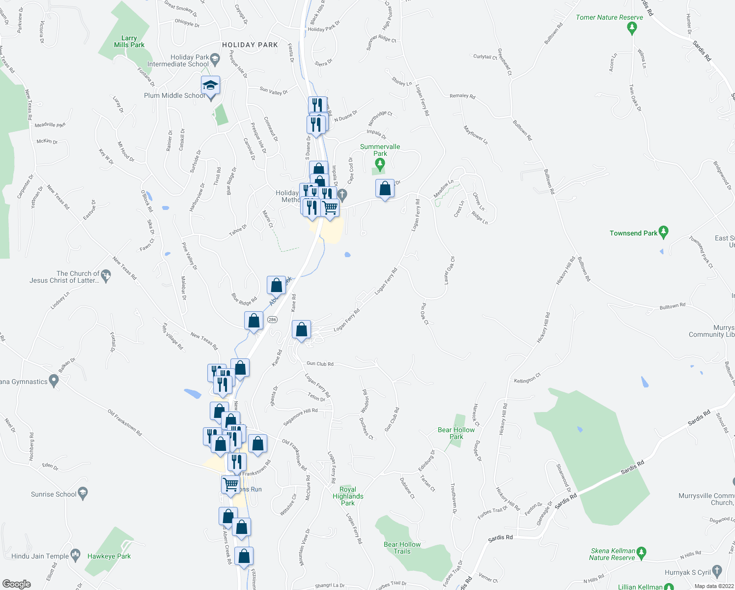 map of restaurants, bars, coffee shops, grocery stores, and more near Mulberry Ln Holiday Hills in Murrysville