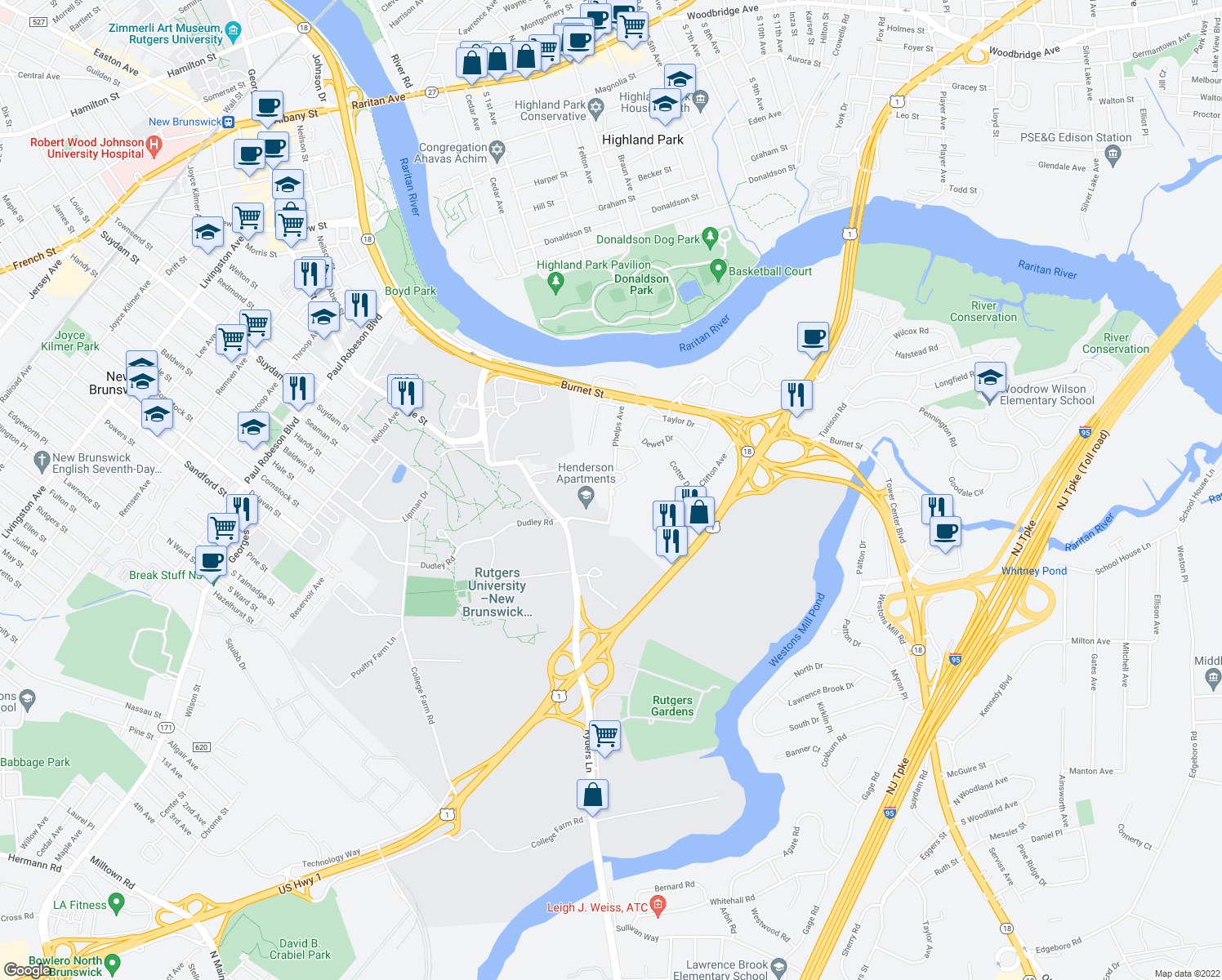 map of restaurants, bars, coffee shops, grocery stores, and more near None in New Brunswick