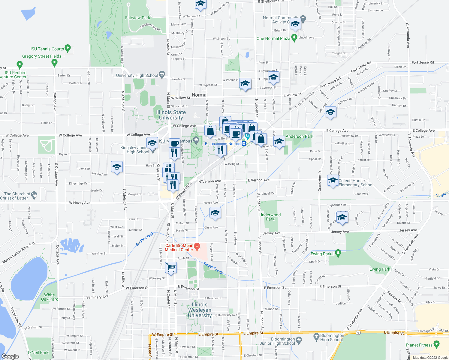 map of restaurants, bars, coffee shops, grocery stores, and more near 609 South Fell Avenue in Normal