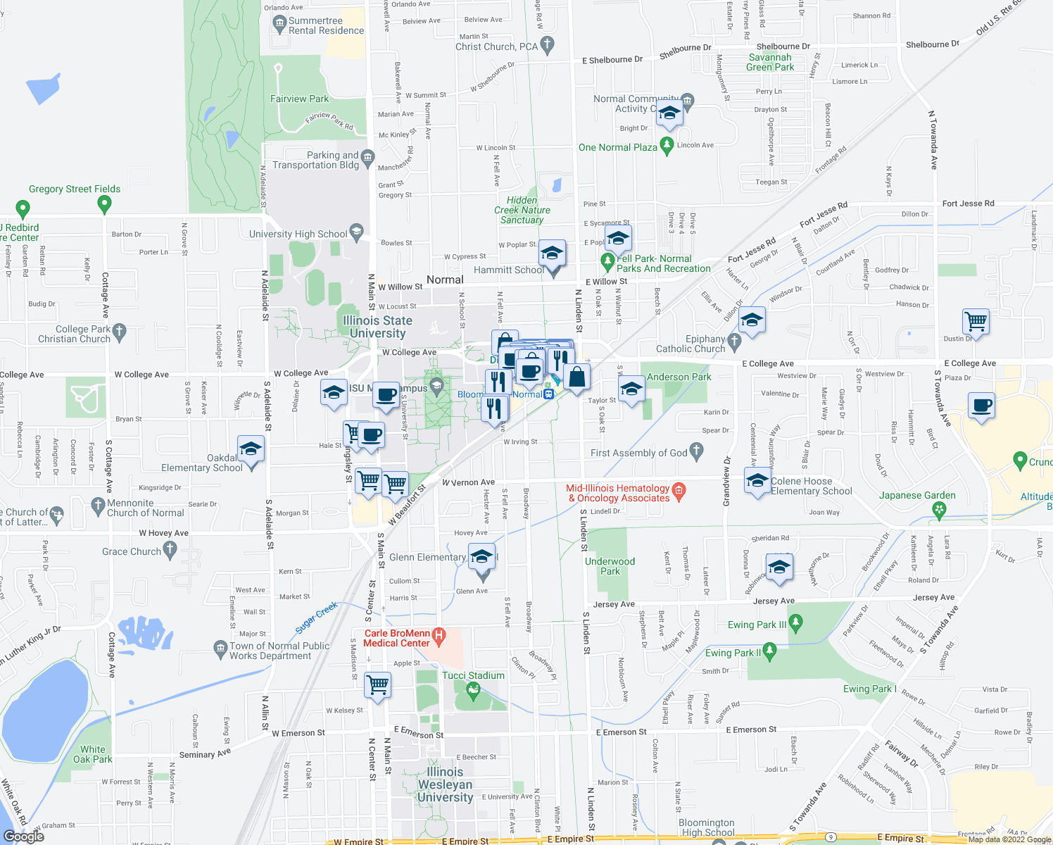 map of restaurants, bars, coffee shops, grocery stores, and more near Broadway St & W Phoenix Ave in Normal