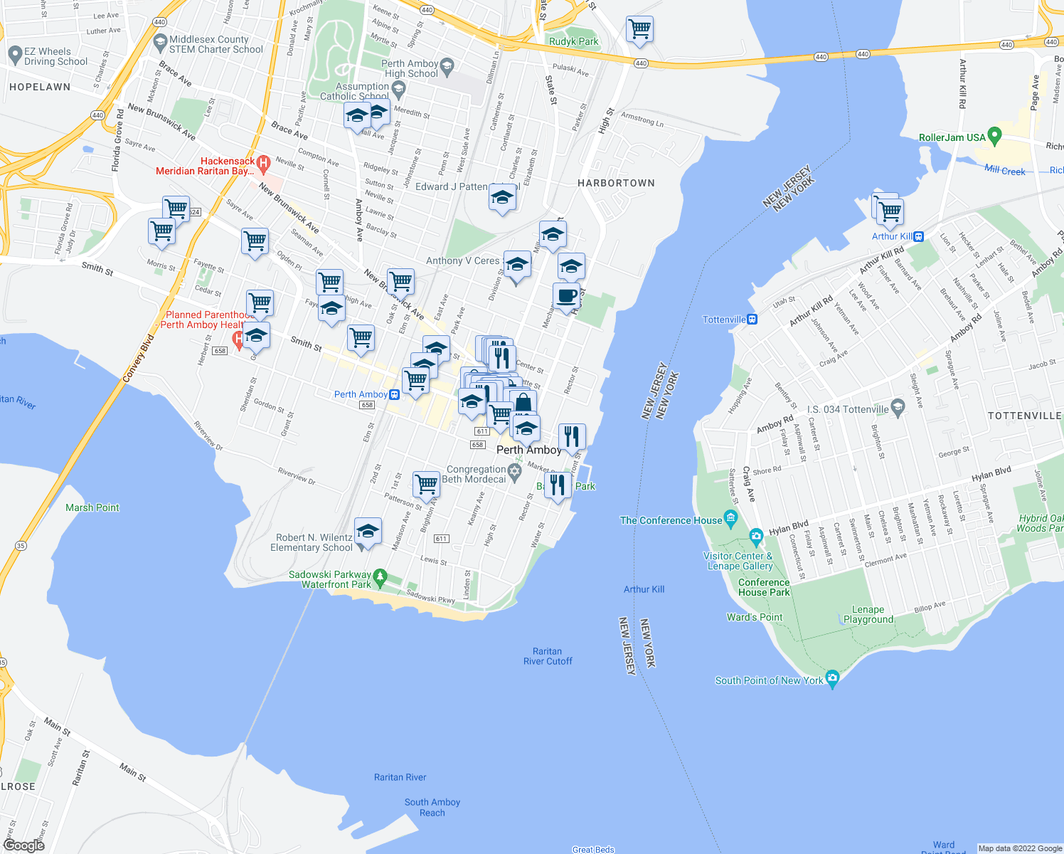 map of restaurants, bars, coffee shops, grocery stores, and more near Smith St & High St in Perth Amboy