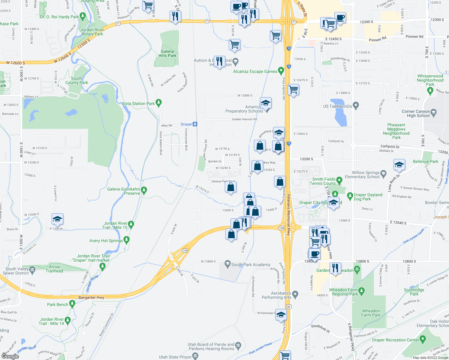 map of restaurants, bars, coffee shops, grocery stores, and more near 211-233 Galena Park Boulevard in Draper
