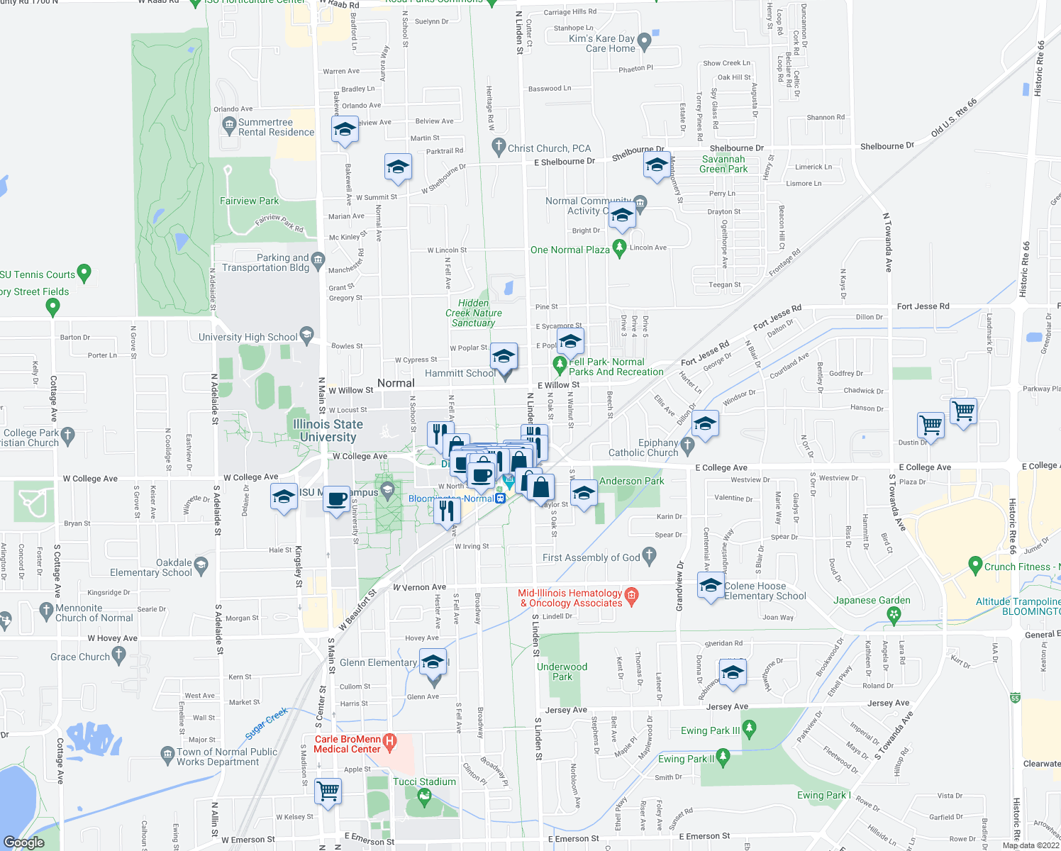 map of restaurants, bars, coffee shops, grocery stores, and more near N Linden St & E Cherry St in Normal