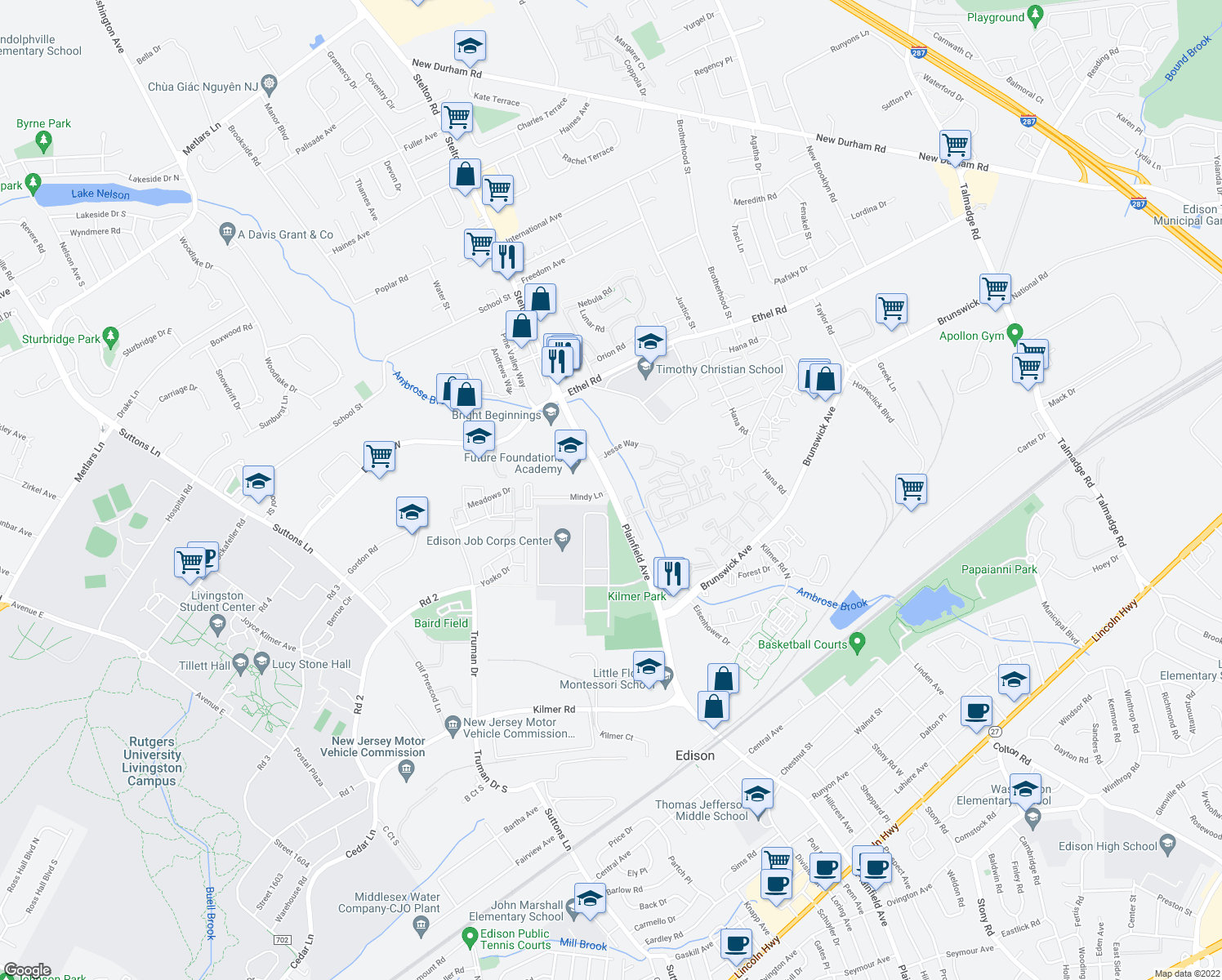 map of restaurants, bars, coffee shops, grocery stores, and more near 1681-1755 Stelton Road in Piscataway Township