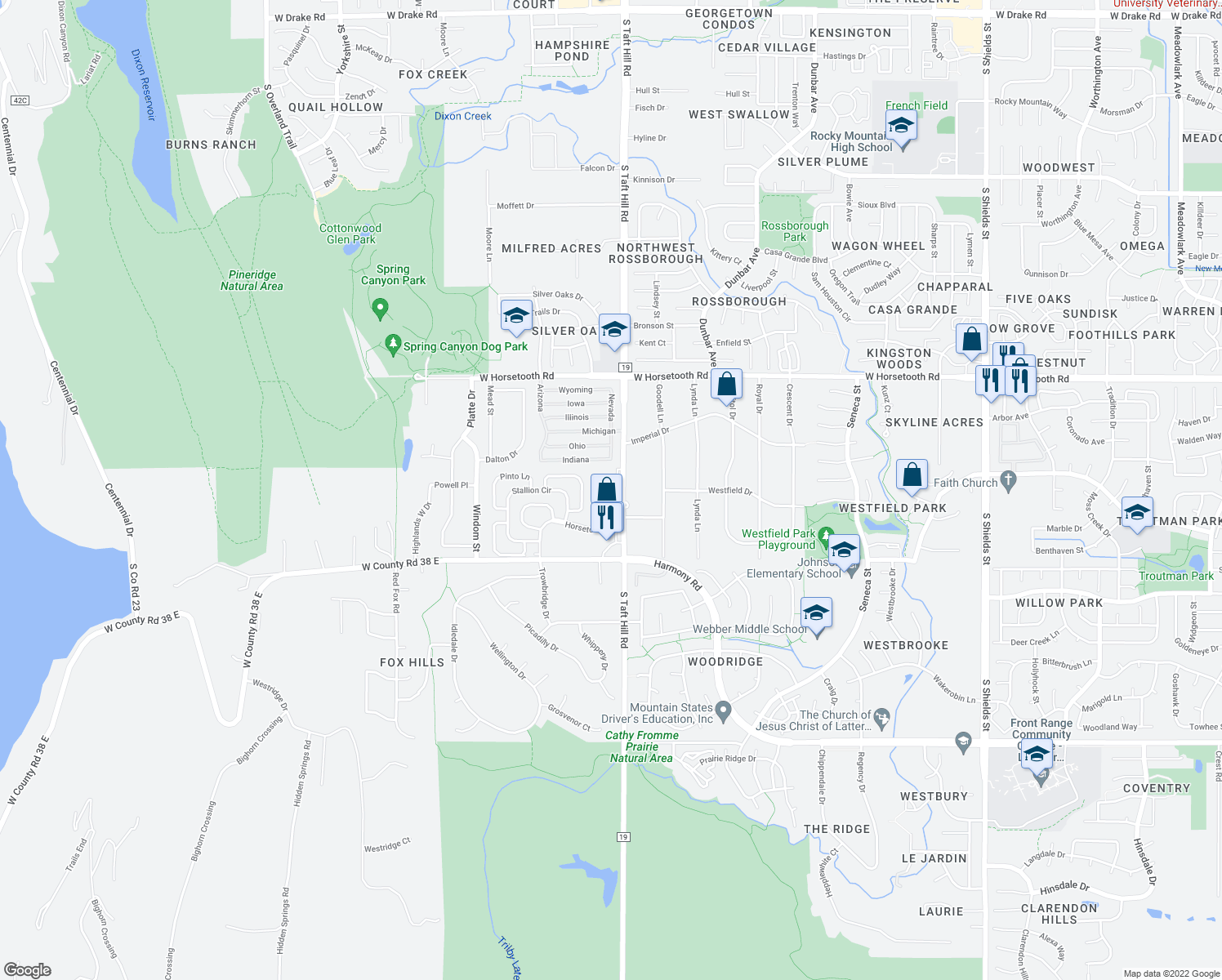 map of restaurants, bars, coffee shops, grocery stores, and more near 3947-3999 South Taft Hill Road in Fort Collins