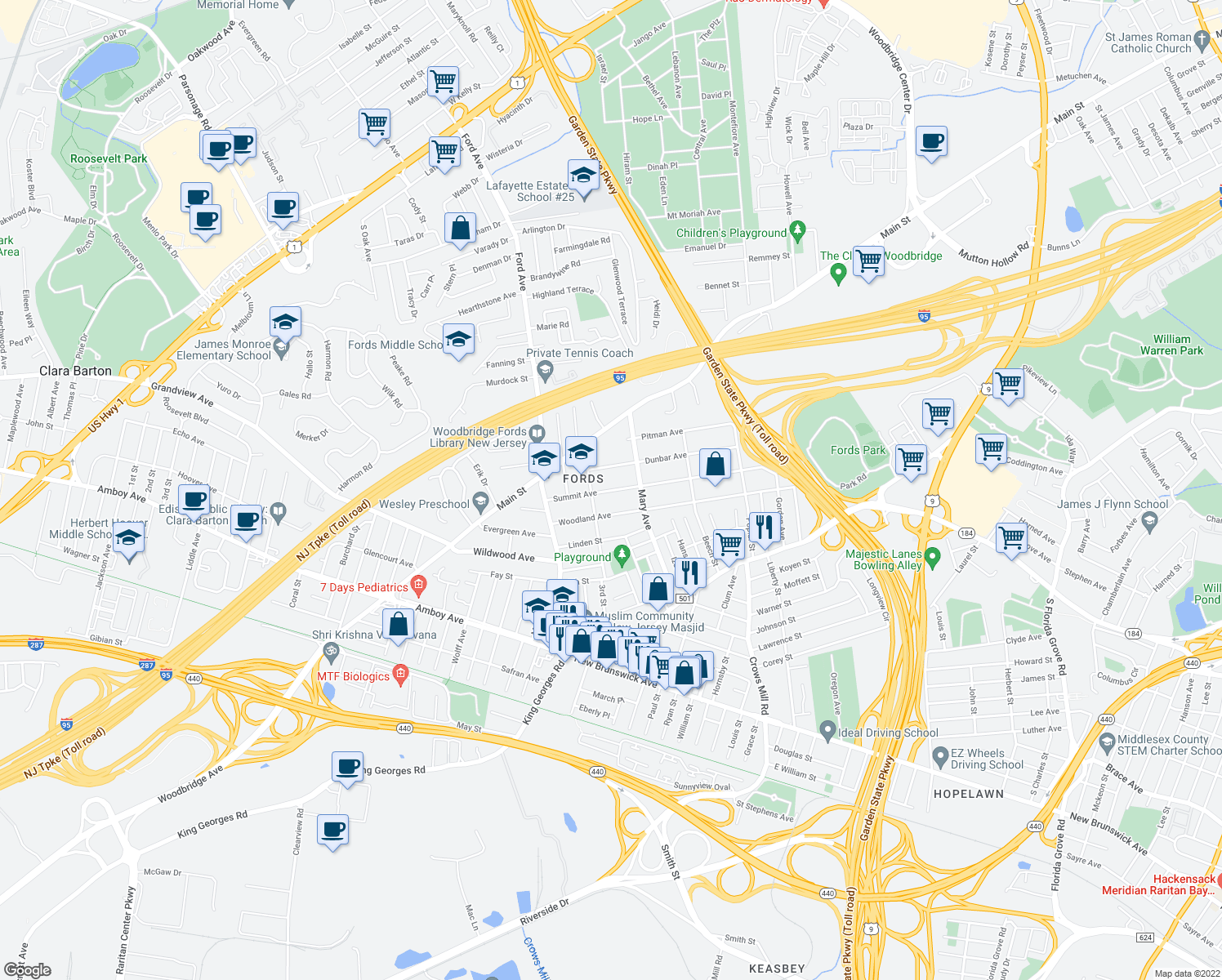map of restaurants, bars, coffee shops, grocery stores, and more near 75 Summit Ave in Woodbridge Township