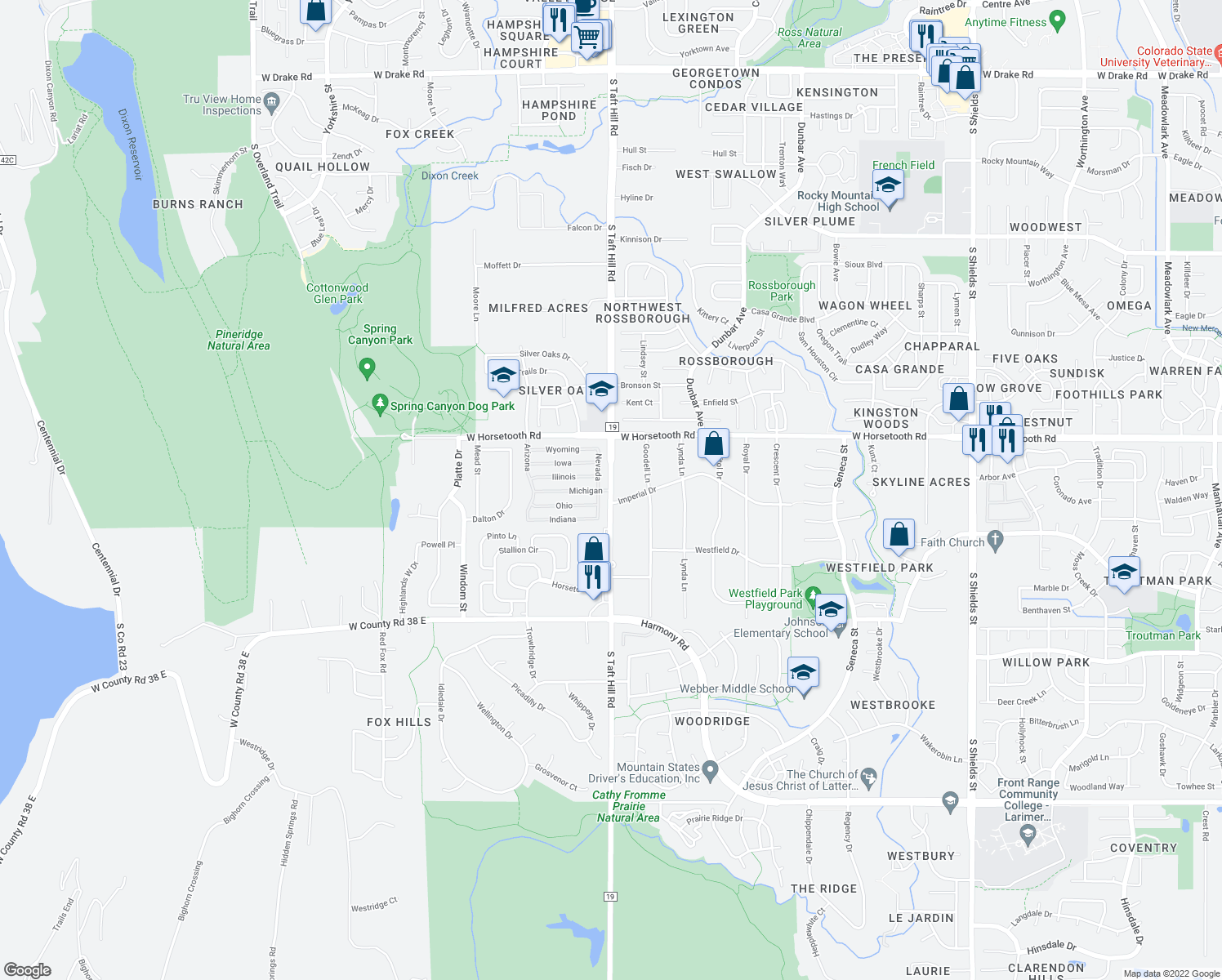 map of restaurants, bars, coffee shops, grocery stores, and more near Michigan in Fort Collins