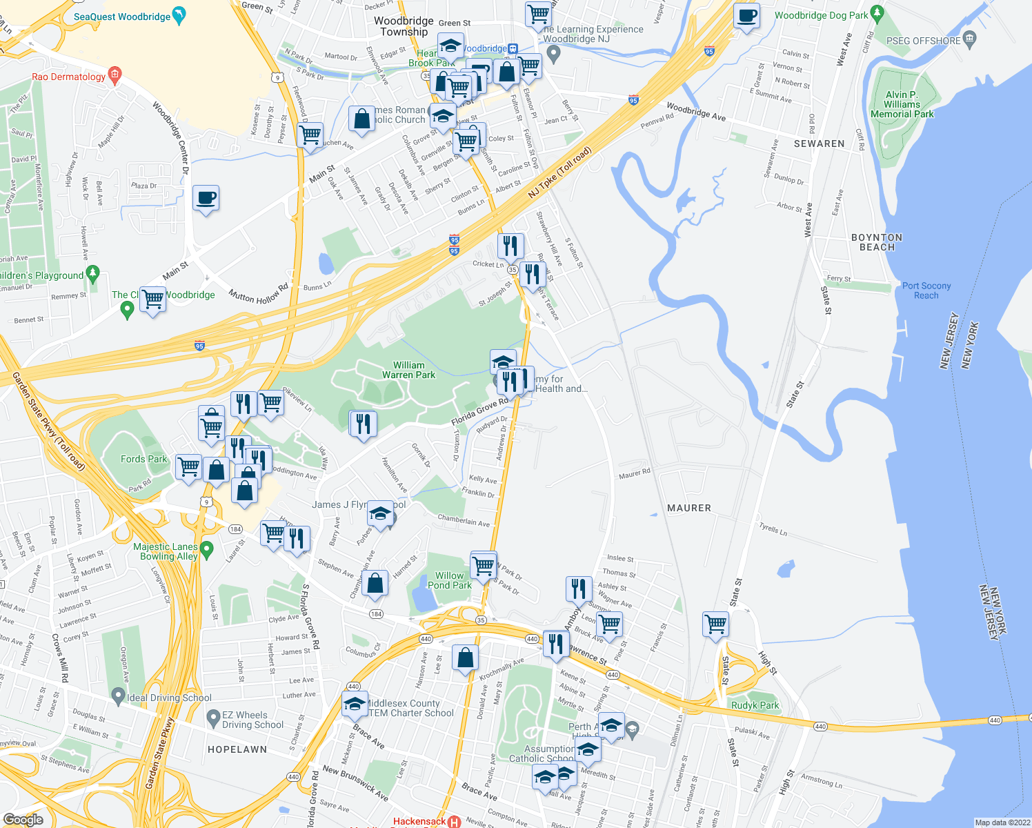 map of restaurants, bars, coffee shops, grocery stores, and more near 592-618 Kozusko Ave in Perth Amboy