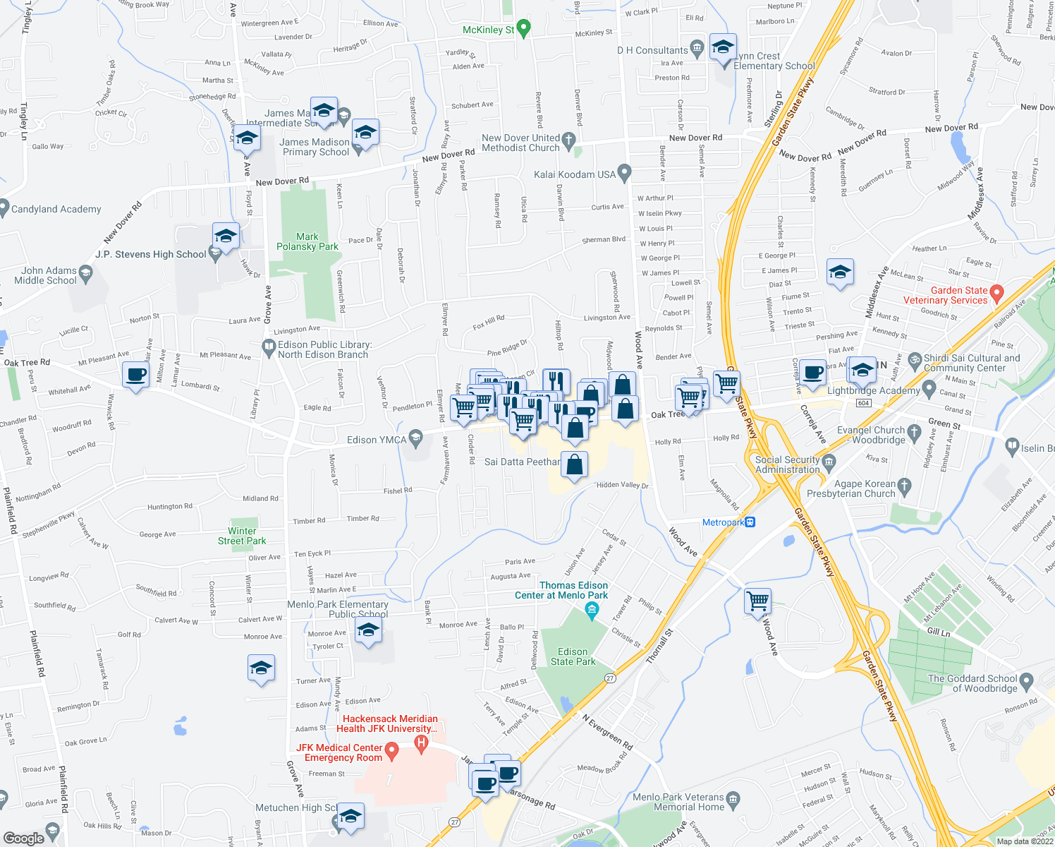 map of restaurants, bars, coffee shops, grocery stores, and more near 4-18 Dayton Drive in Edison