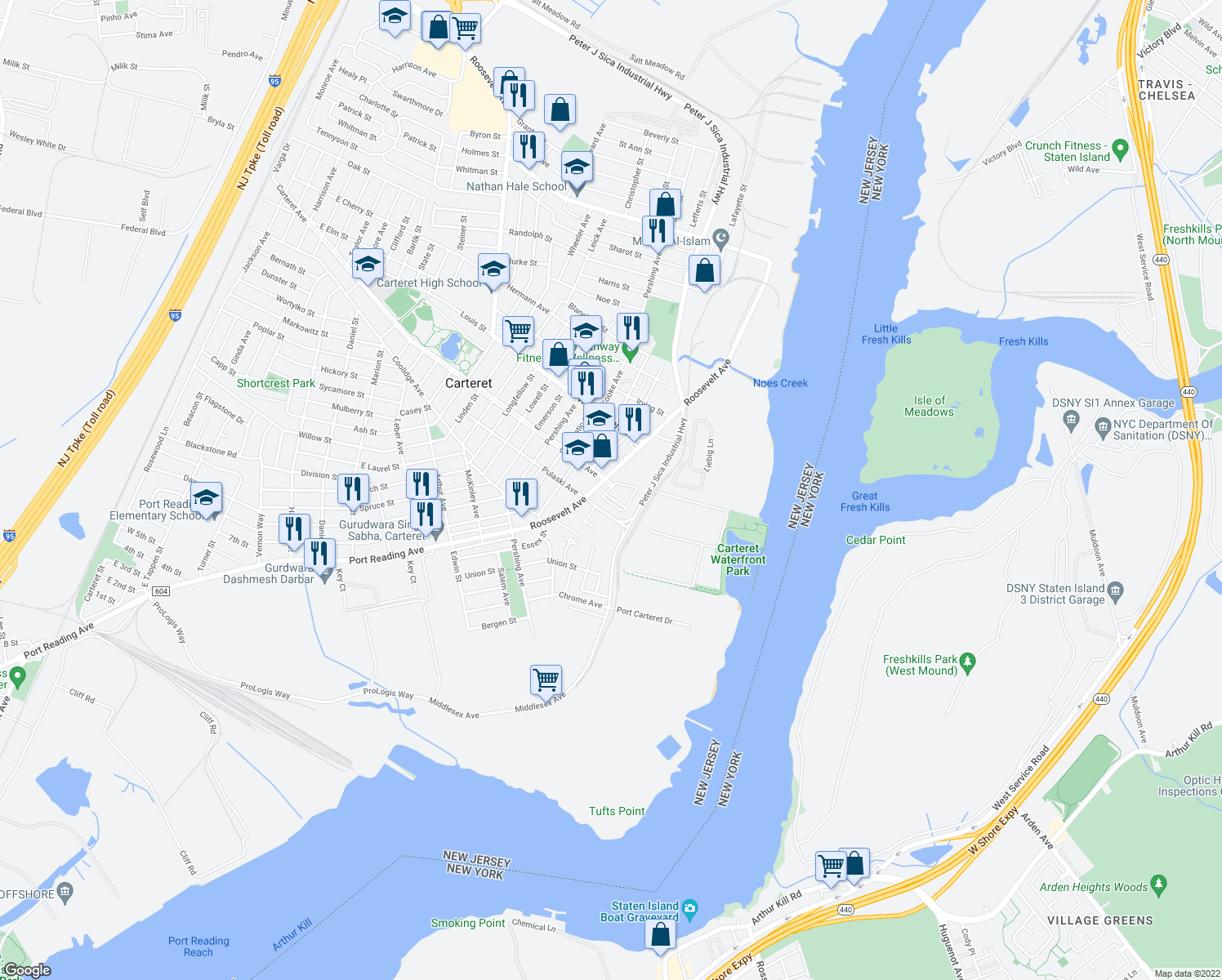 map of restaurants, bars, coffee shops, grocery stores, and more near in Carteret