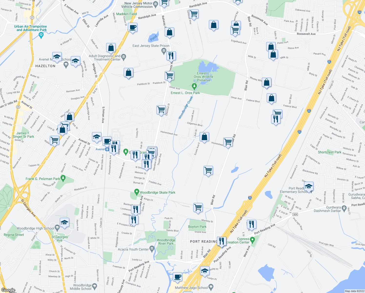 map of restaurants, bars, coffee shops, grocery stores, and more near 408 Evergreen Forest Blvd in Woodbridge Township