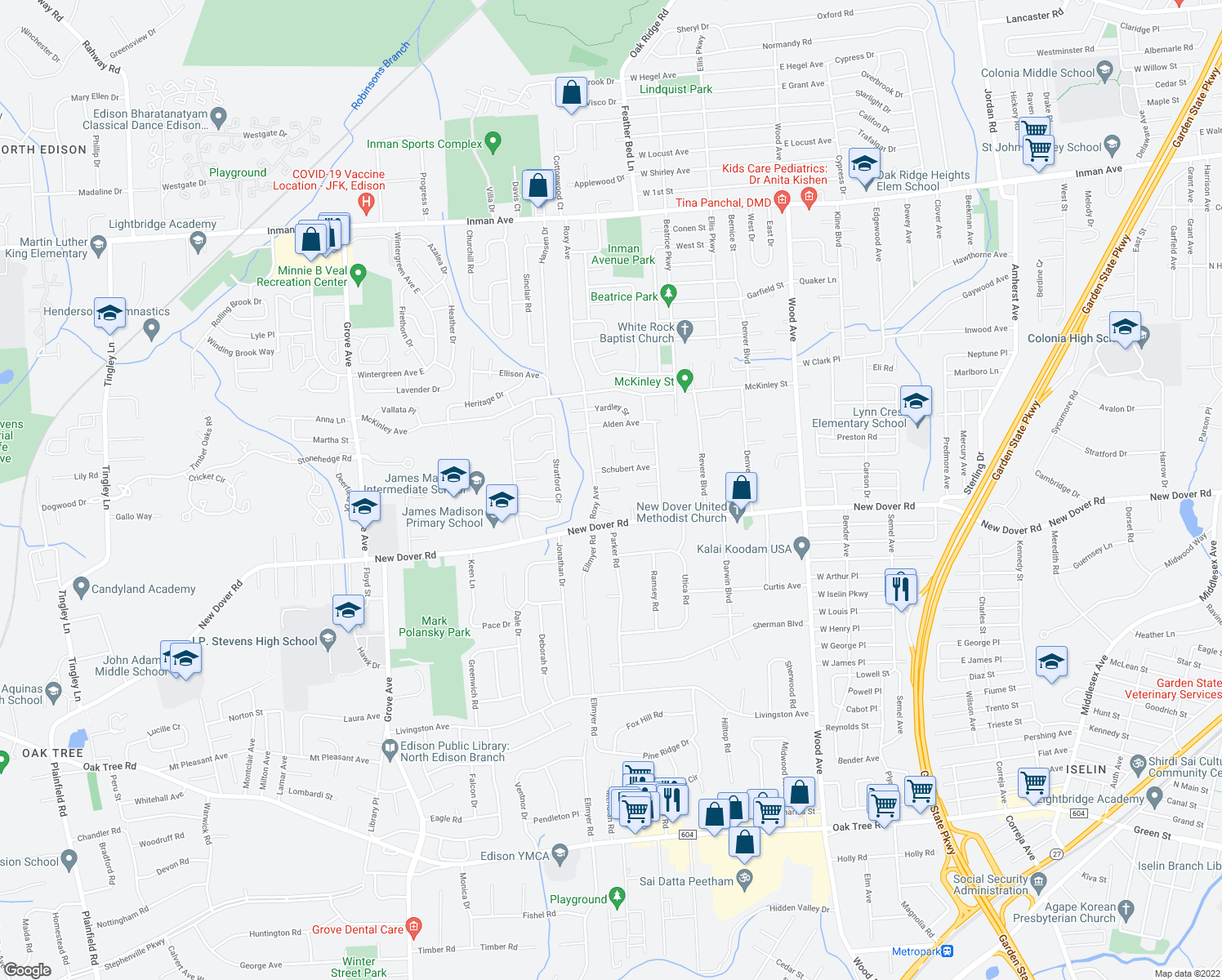map of restaurants, bars, coffee shops, grocery stores, and more near 10 Brandywine Ct in Edison